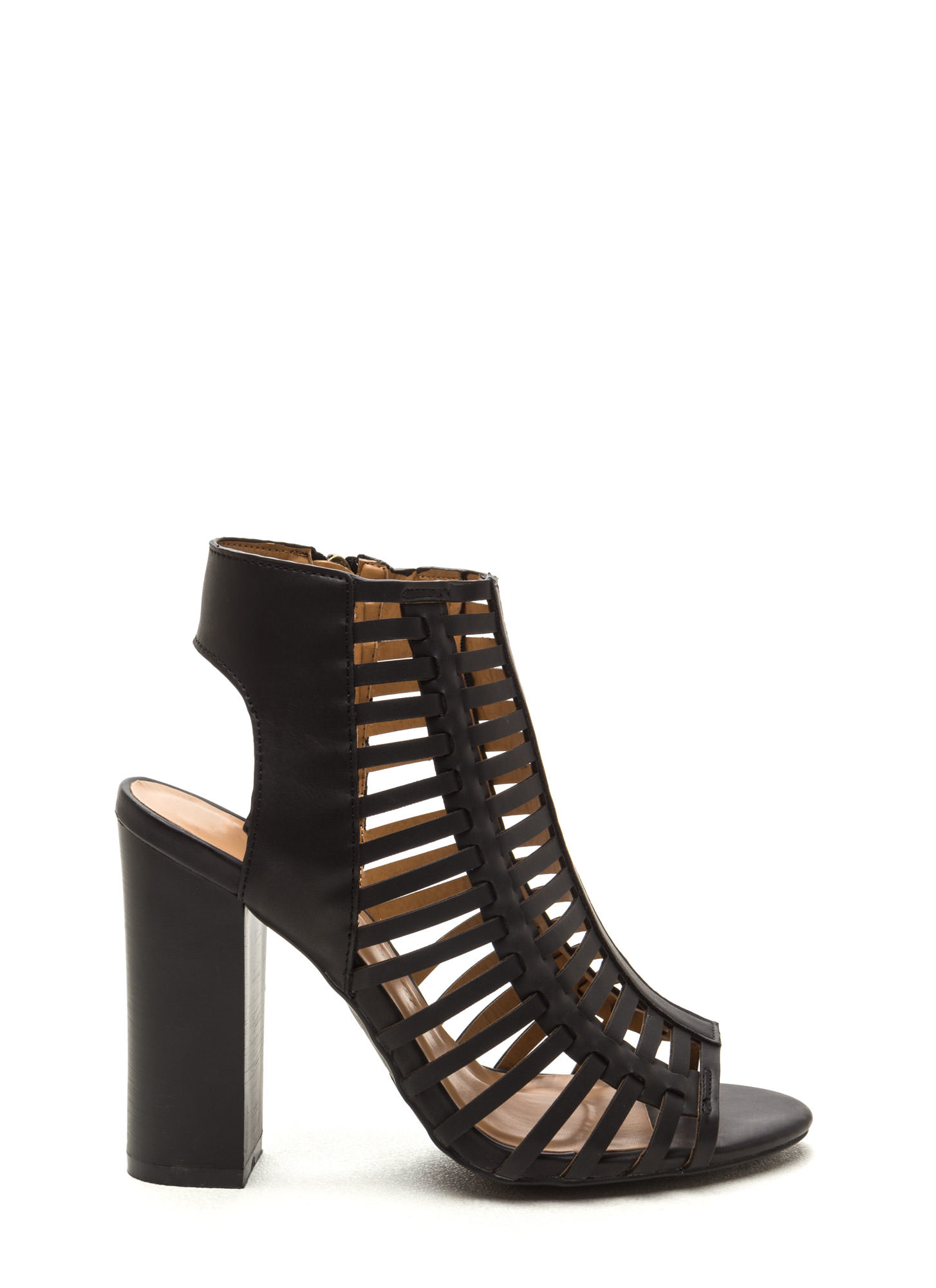 Strappy Day Chunky Faux Leather Heels BLACK