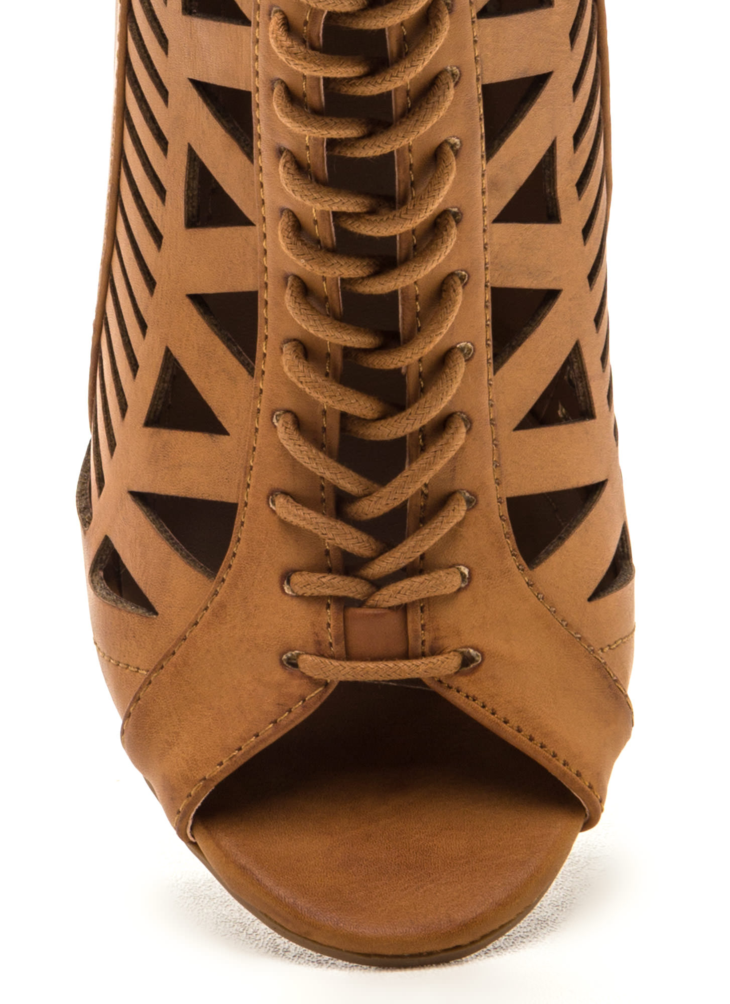 Total Perfection Lace-Up Chunky Heels TAN