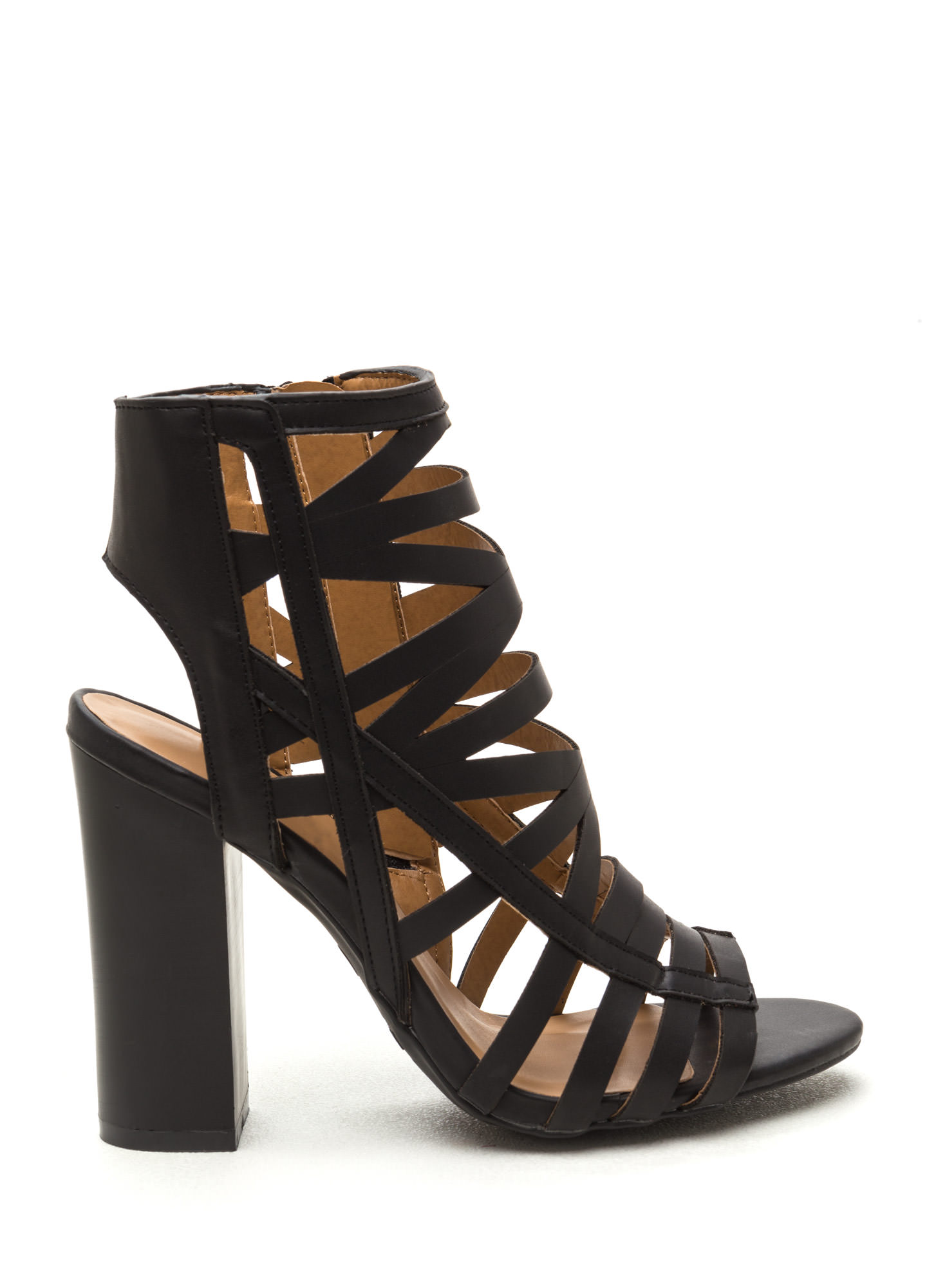 Cut-Out 'N Paste Faux Leather Heels BLACK
