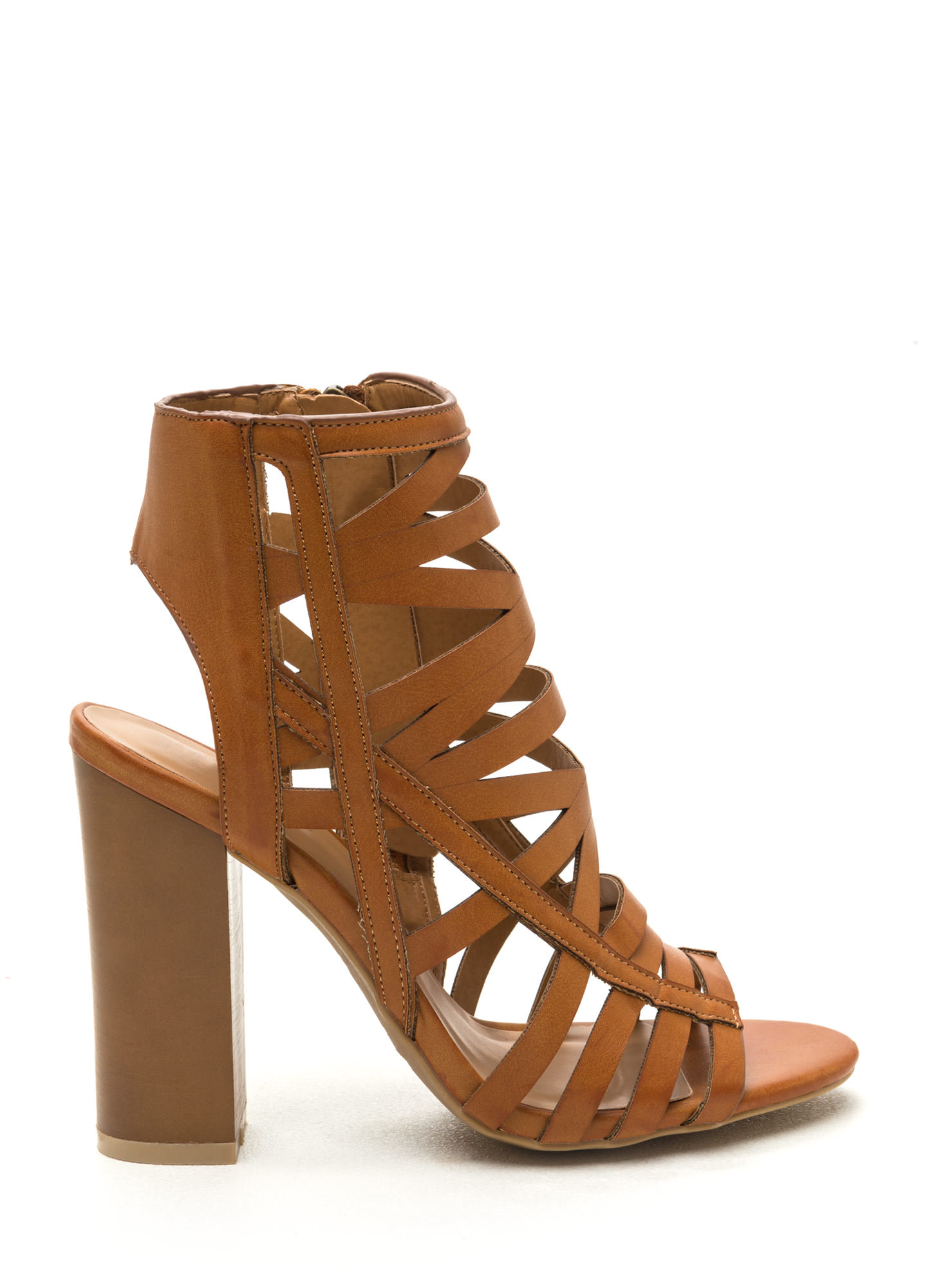 Cut-Out 'N Paste Faux Leather Heels TAN
