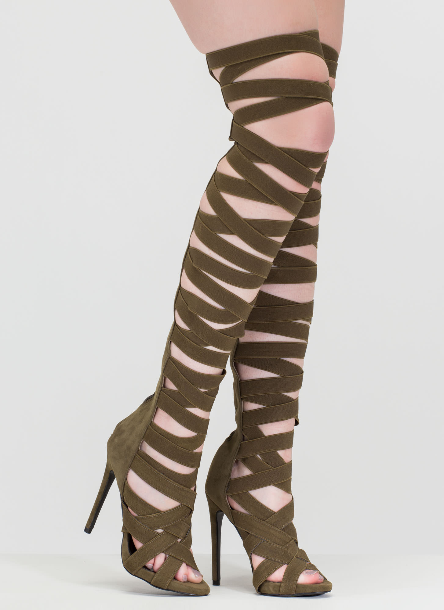 X's And Oohs Gladiator Heels OLIVE