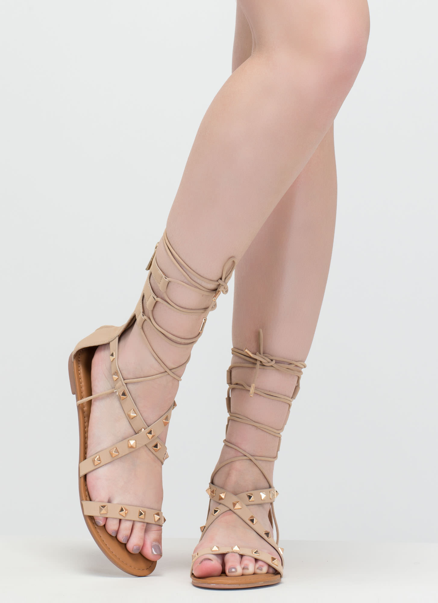 Go Girl Faux Nubuck Studded Sandals NUDE (Final Sale)