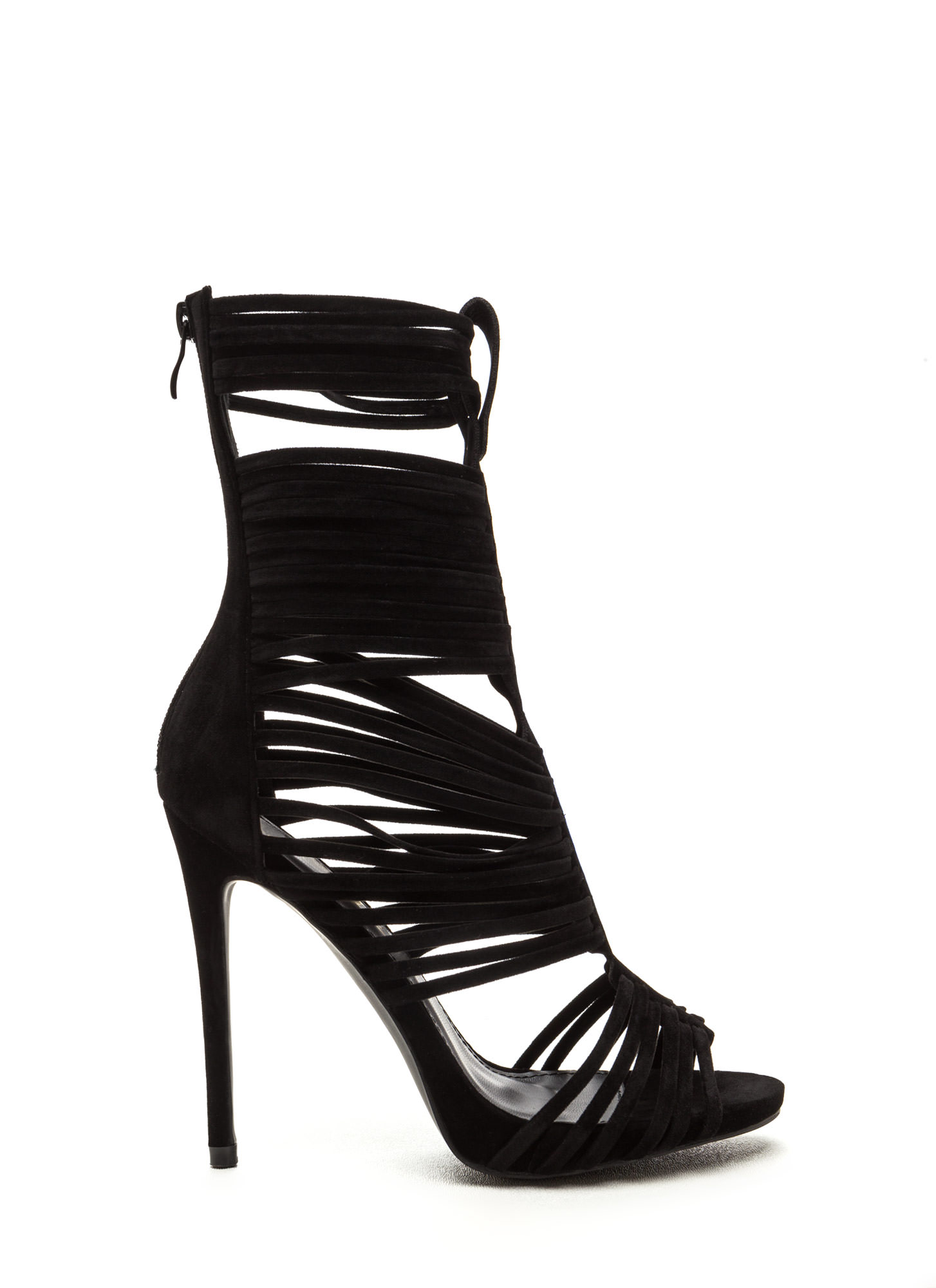 Most Wanted Faux Suede Caged Heels BLACK