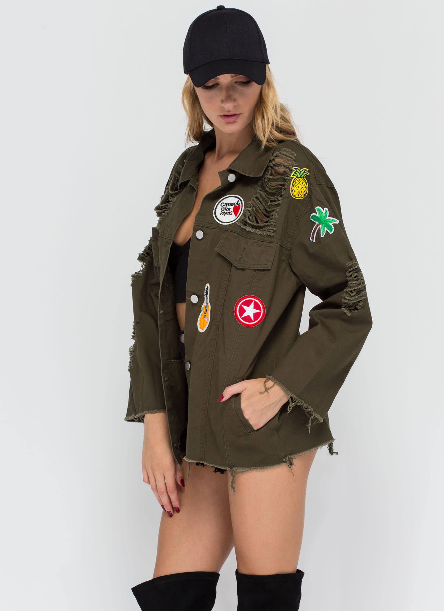 Hold A Grunge Distressed Patch Jacket OLIVE