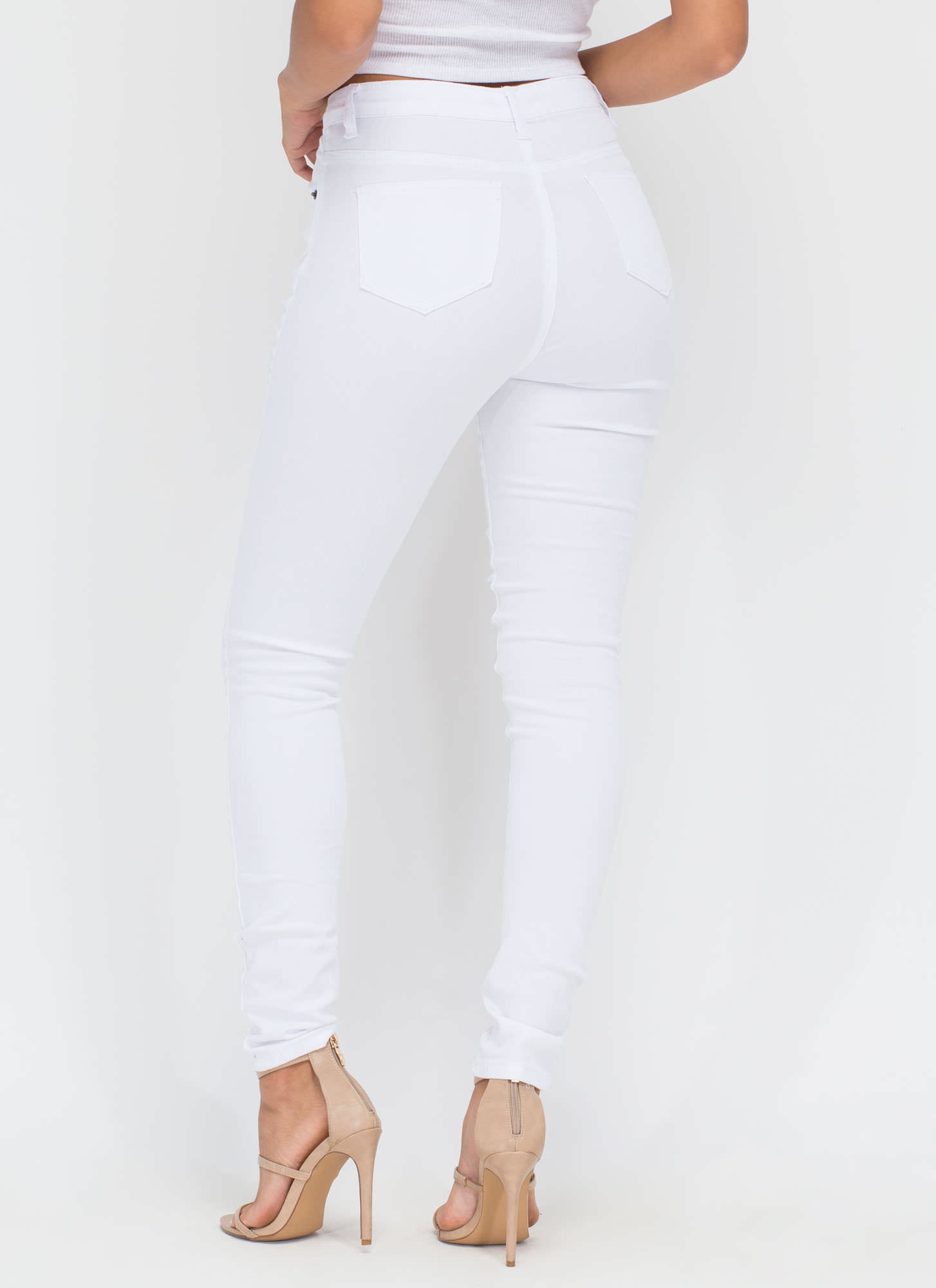 Slitting Pretty Distressed Skinny Jeans WHITE