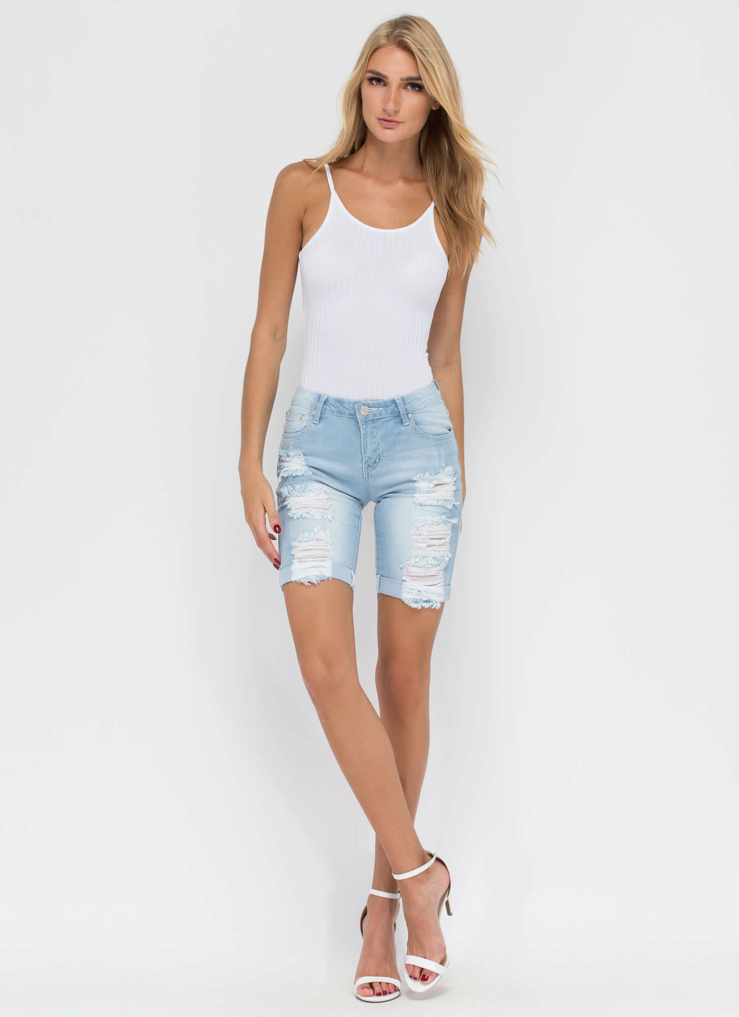 Roll Call Long Distressed Jean Shorts LTBLUE