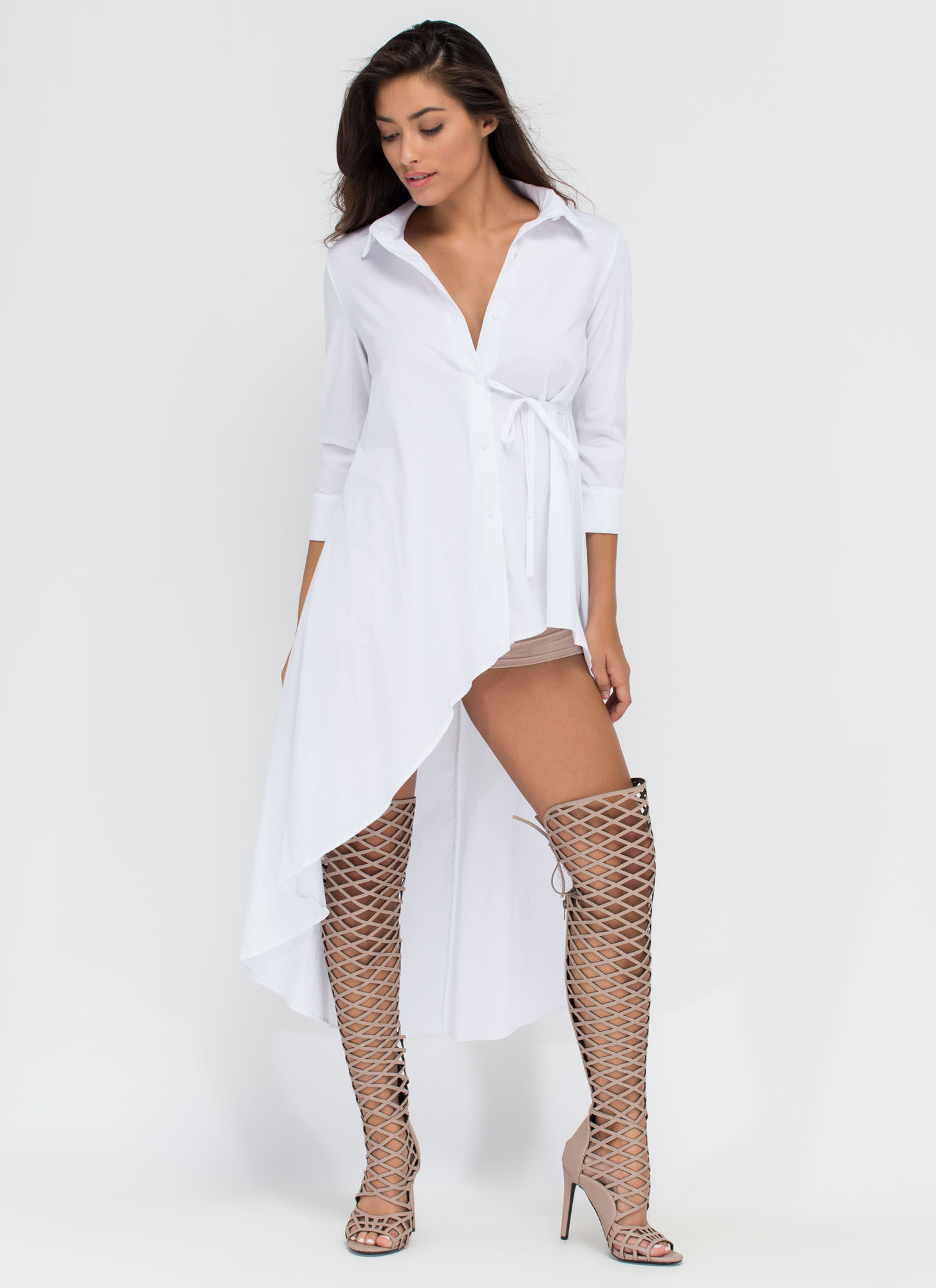Downtown High-Low Shirt Dress WHITE