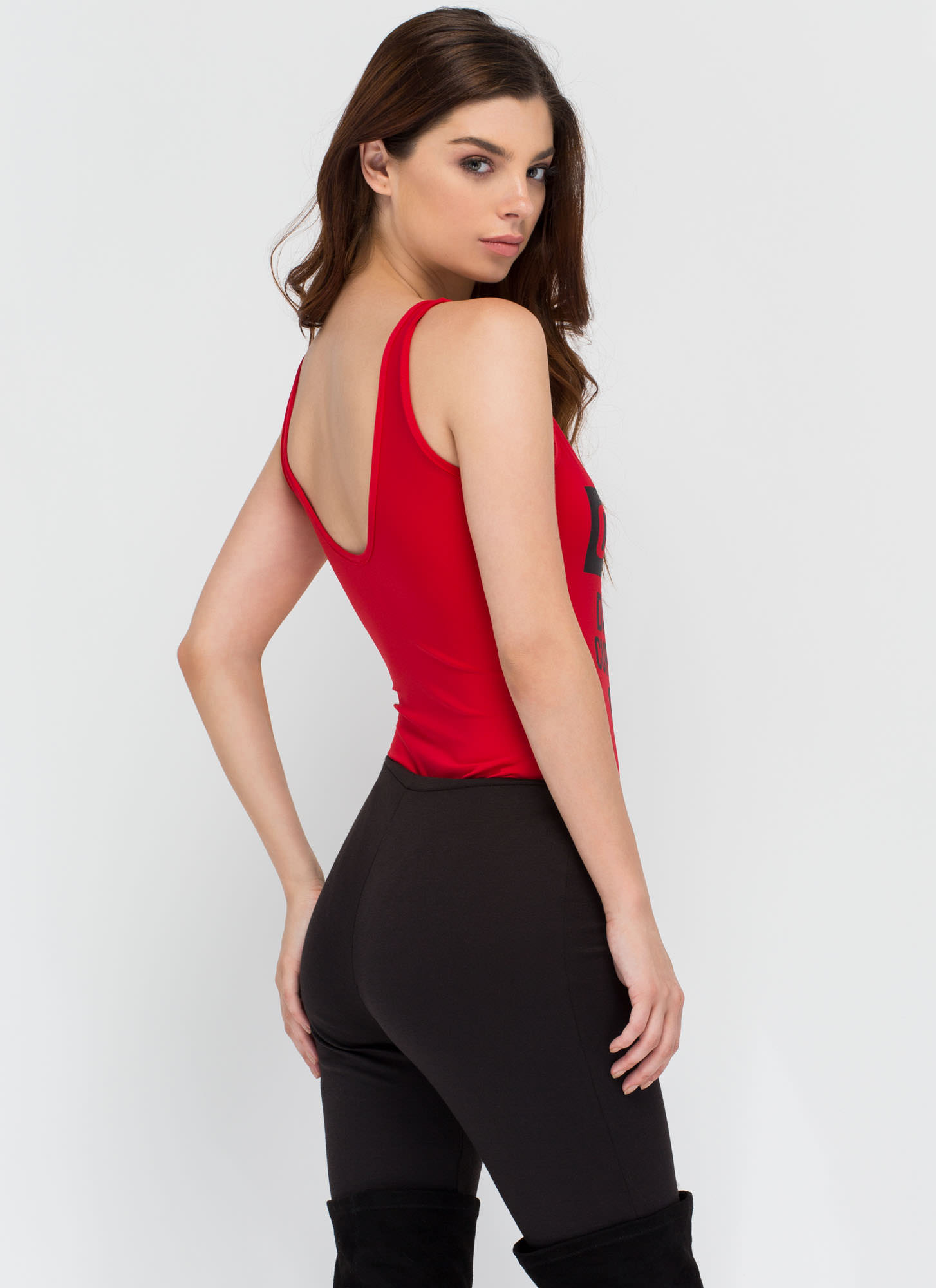 Caution Dangerous Curves Bodysuit RED