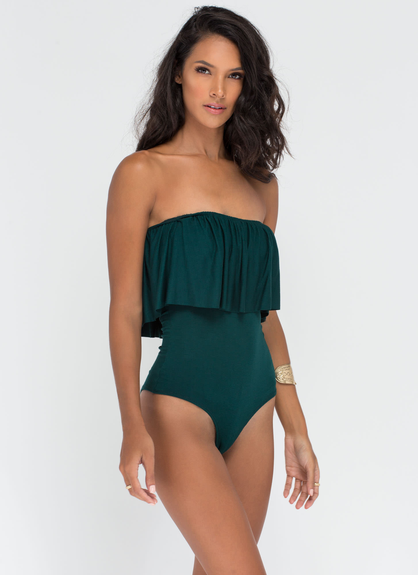 Ruffled Feathers Off-Shoulder Bodysuit HGREEN