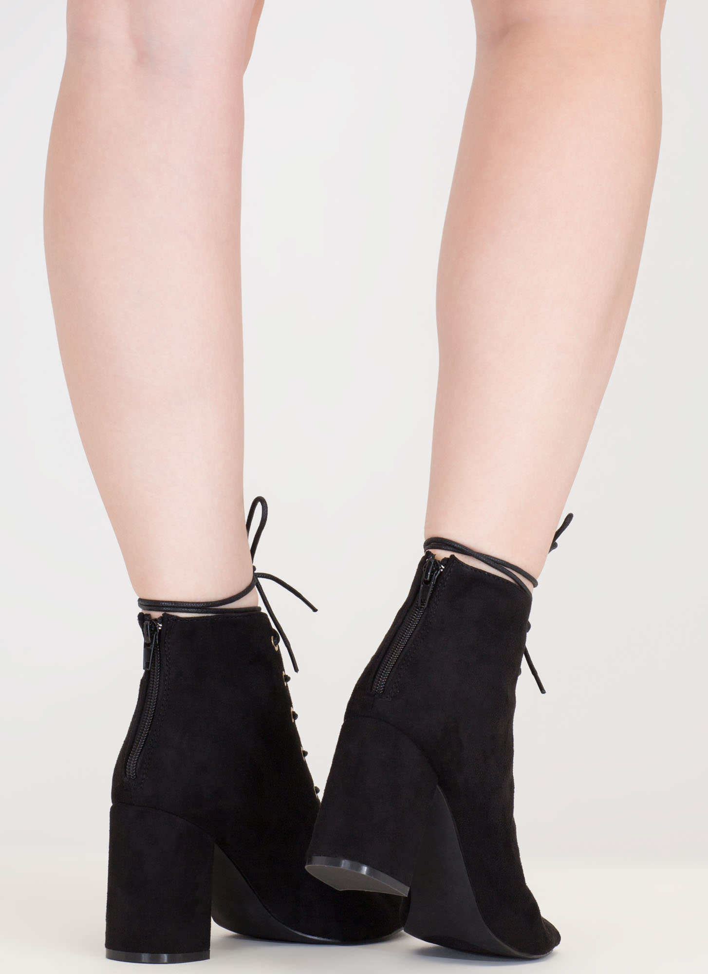 Set To Launch Faux Suede Lace-Up Booties BLACK