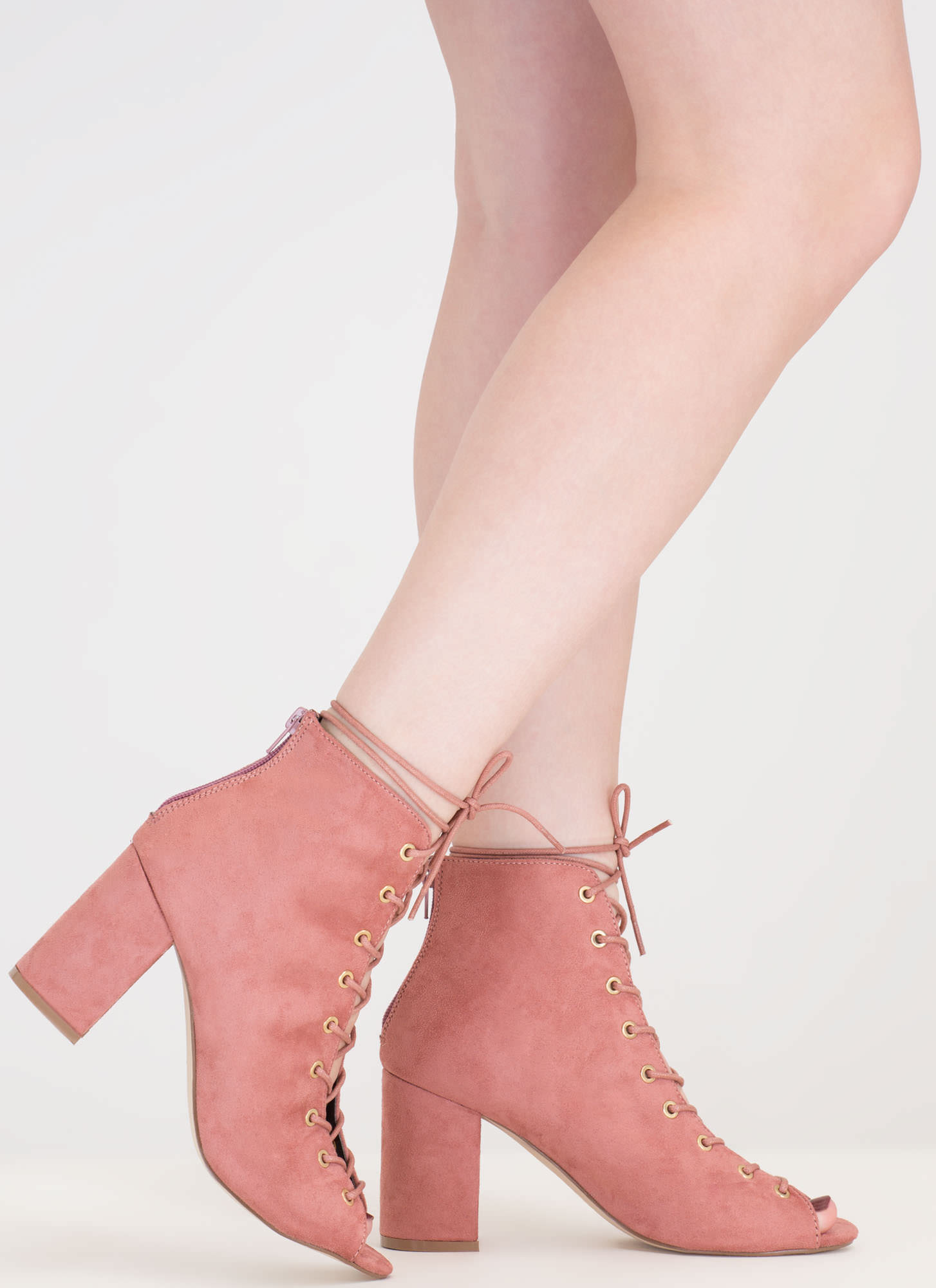 Set To Launch Faux Suede Lace-Up Booties BLUSH
