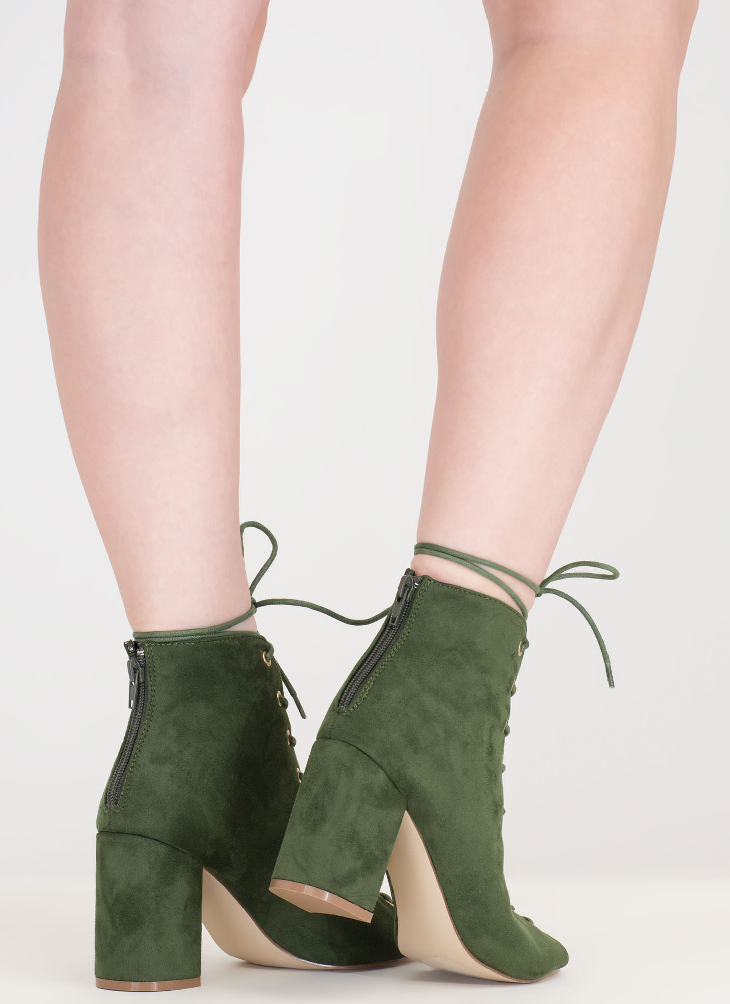 Set To Launch Faux Suede Lace-Up Booties HUNTERGREEN