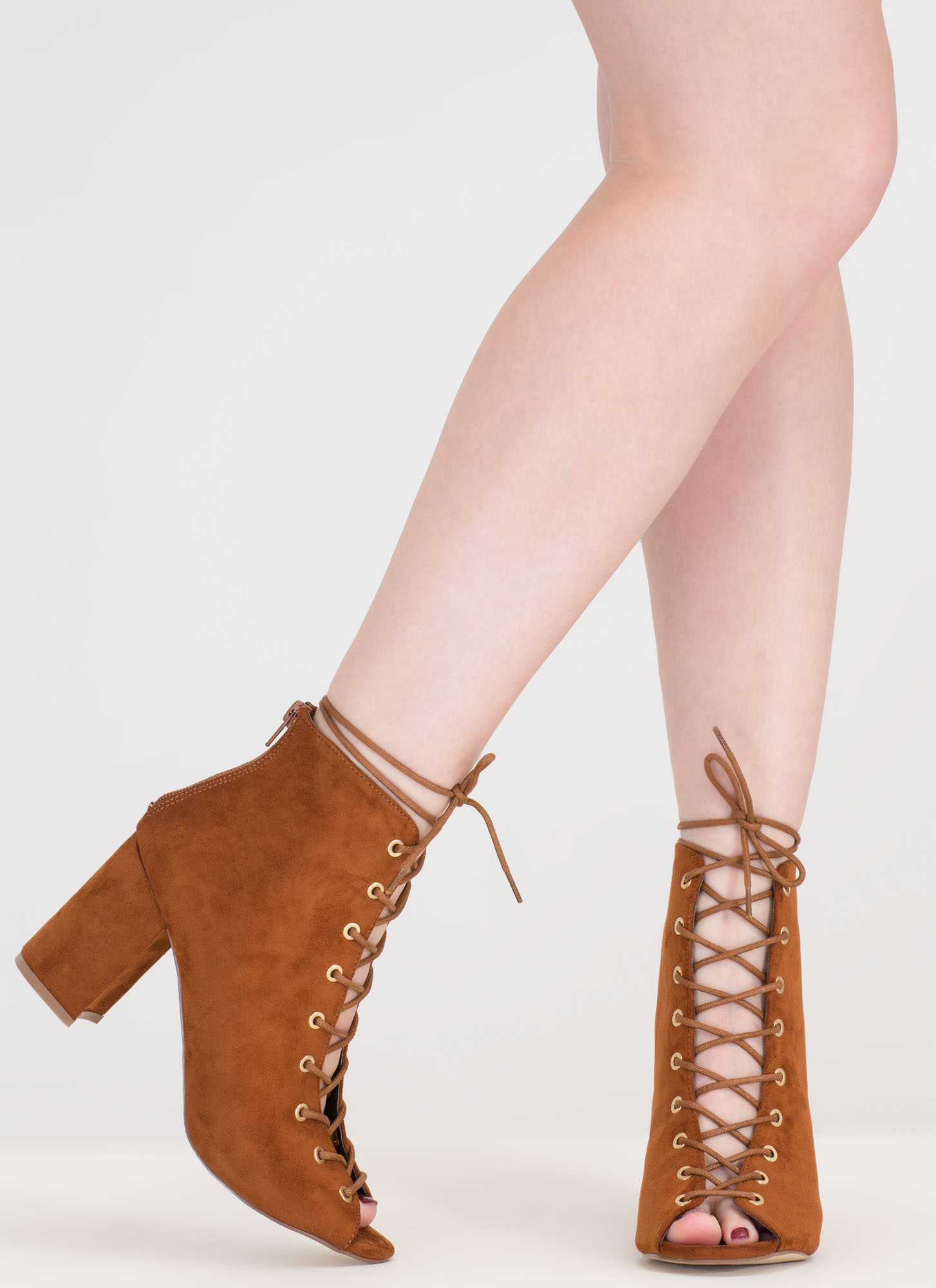 Set To Launch Faux Suede Lace-Up Booties MOCHA