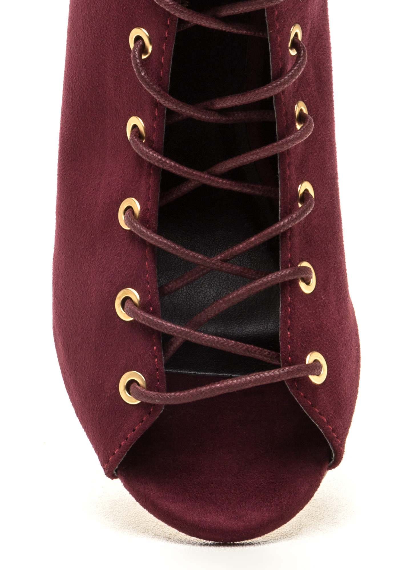 Set To Launch Faux Suede Lace-Up Booties WINE