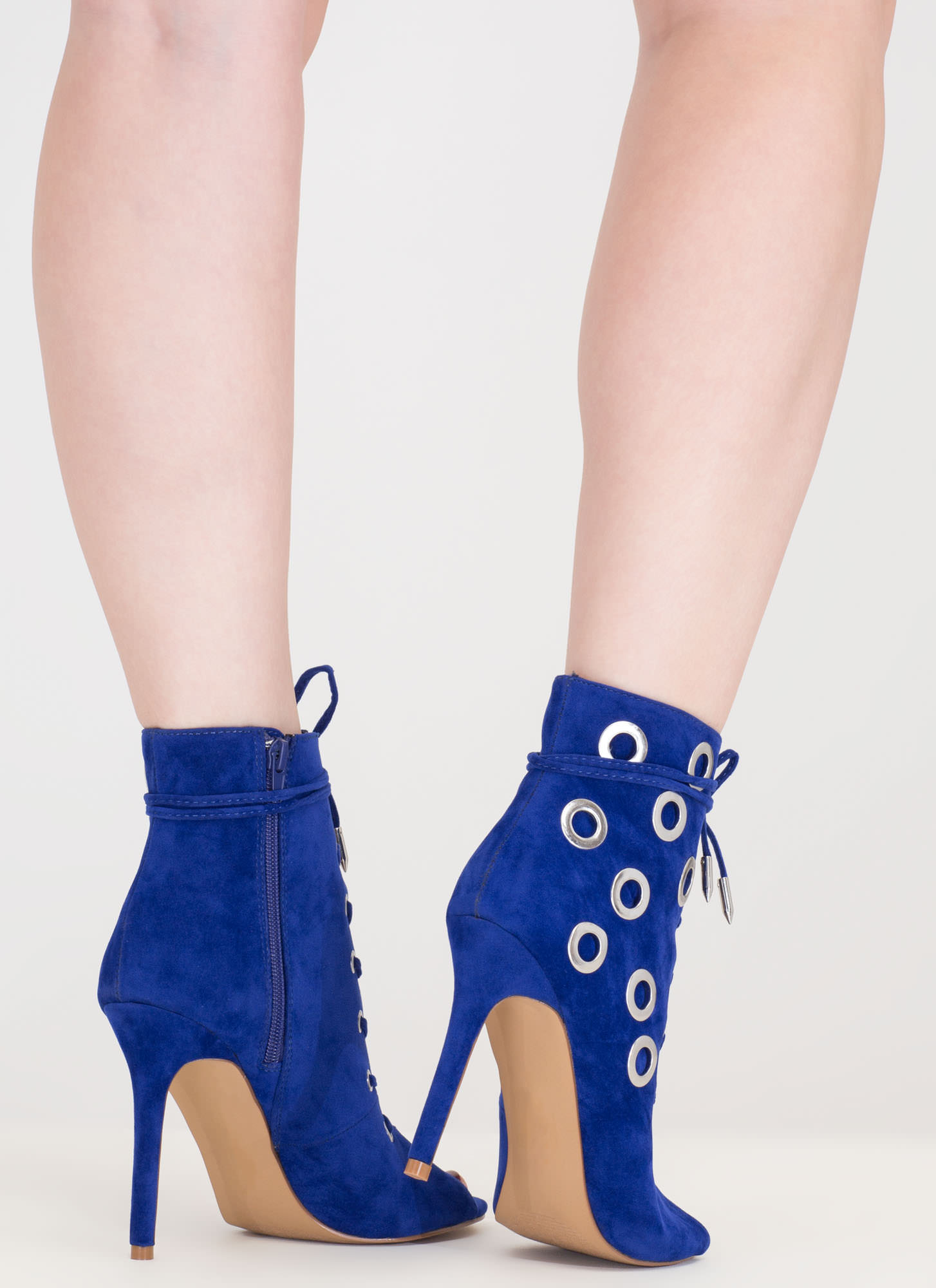 Hole Heart Embellished Lace-Up Booties BLUE (Final Sale)