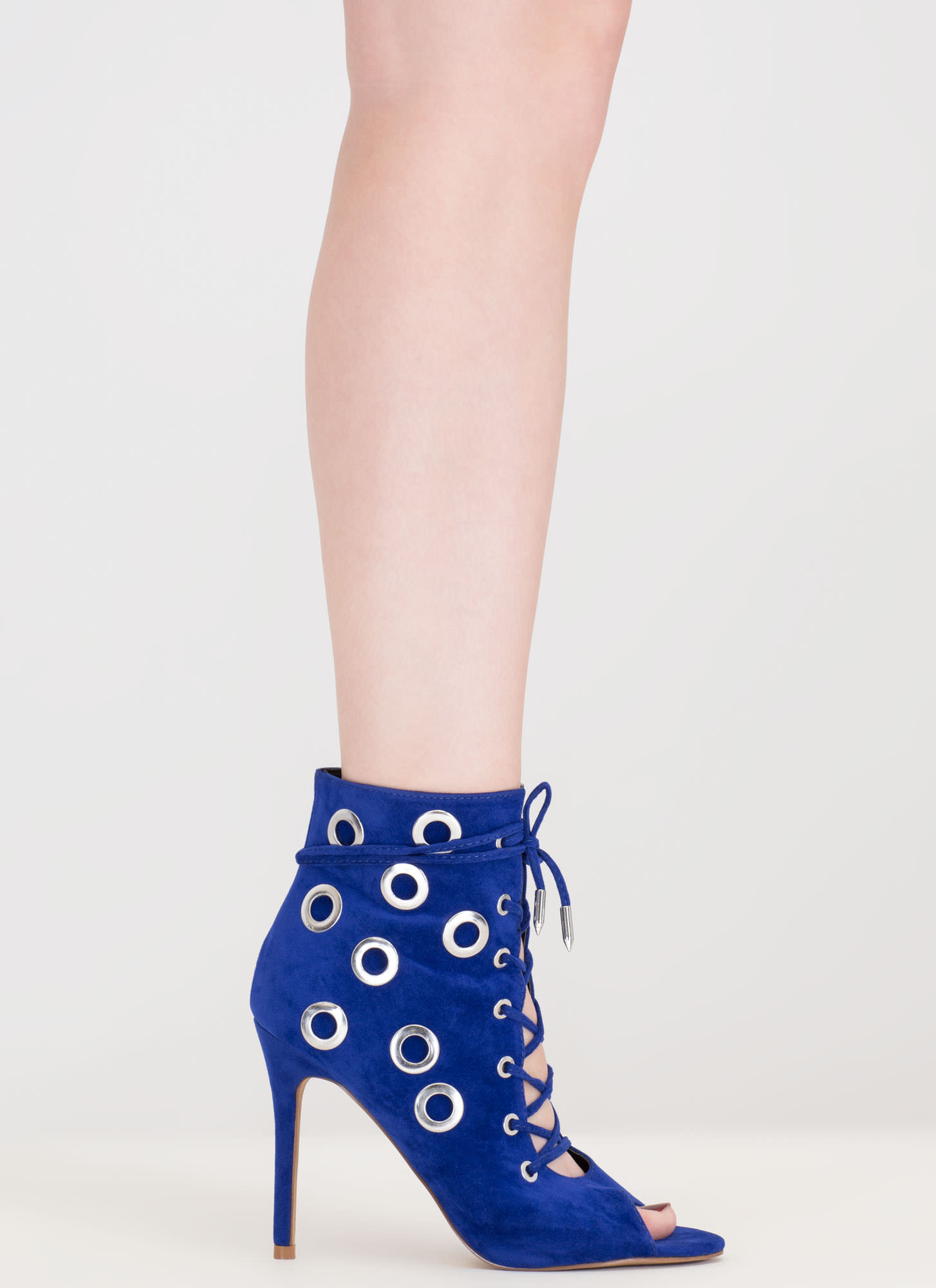 Hole Heart Embellished Lace-Up Booties BLUE