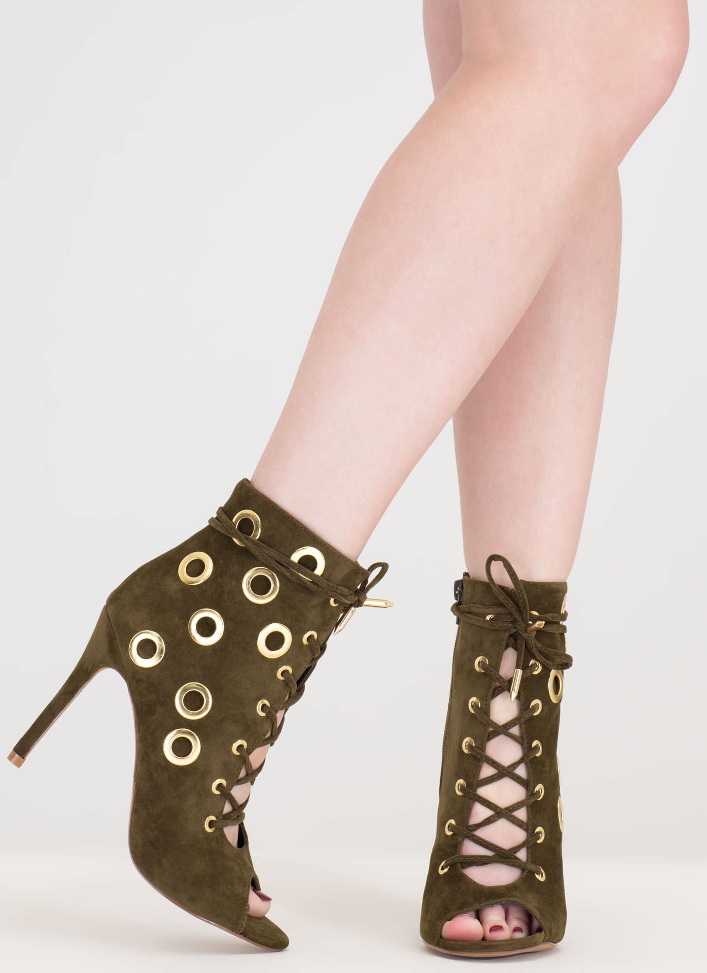 Hole Heart Embellished Lace-Up Booties OLIVE
