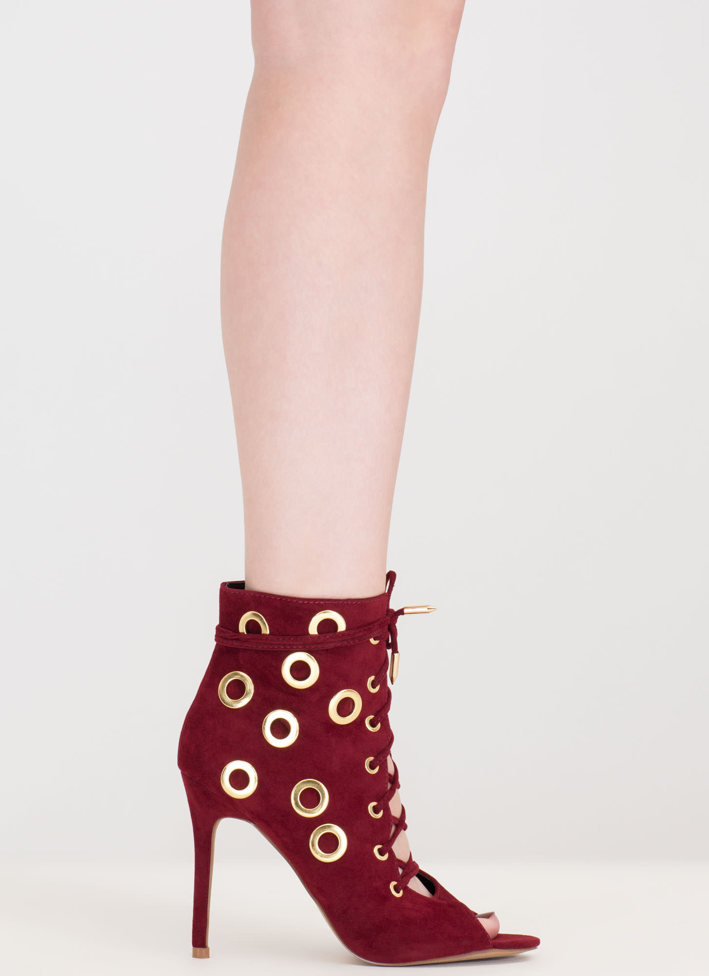 Hole Heart Embellished Lace-Up Booties WINE (Final Sale)