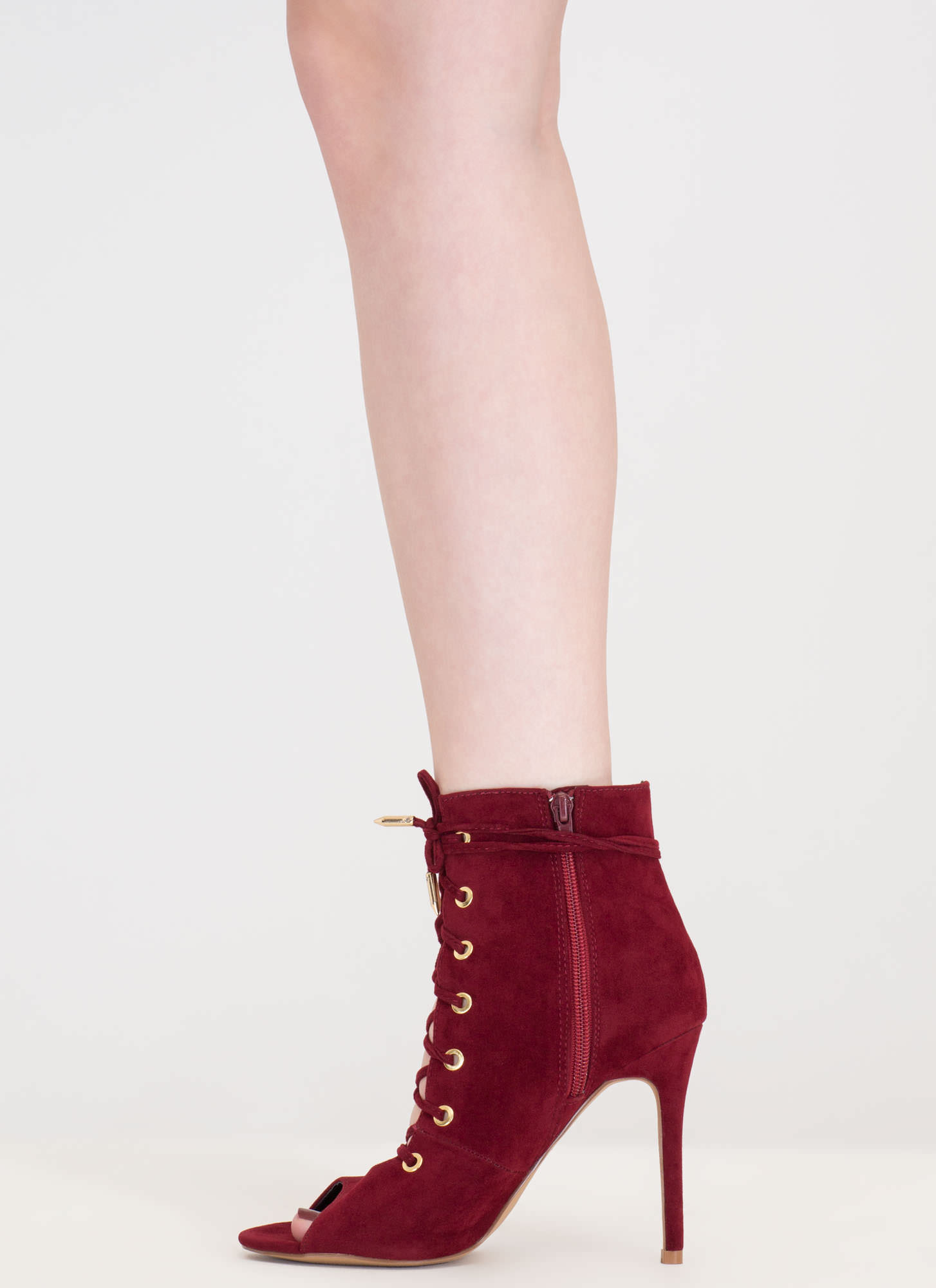 Hole Heart Embellished Lace-Up Booties WINE