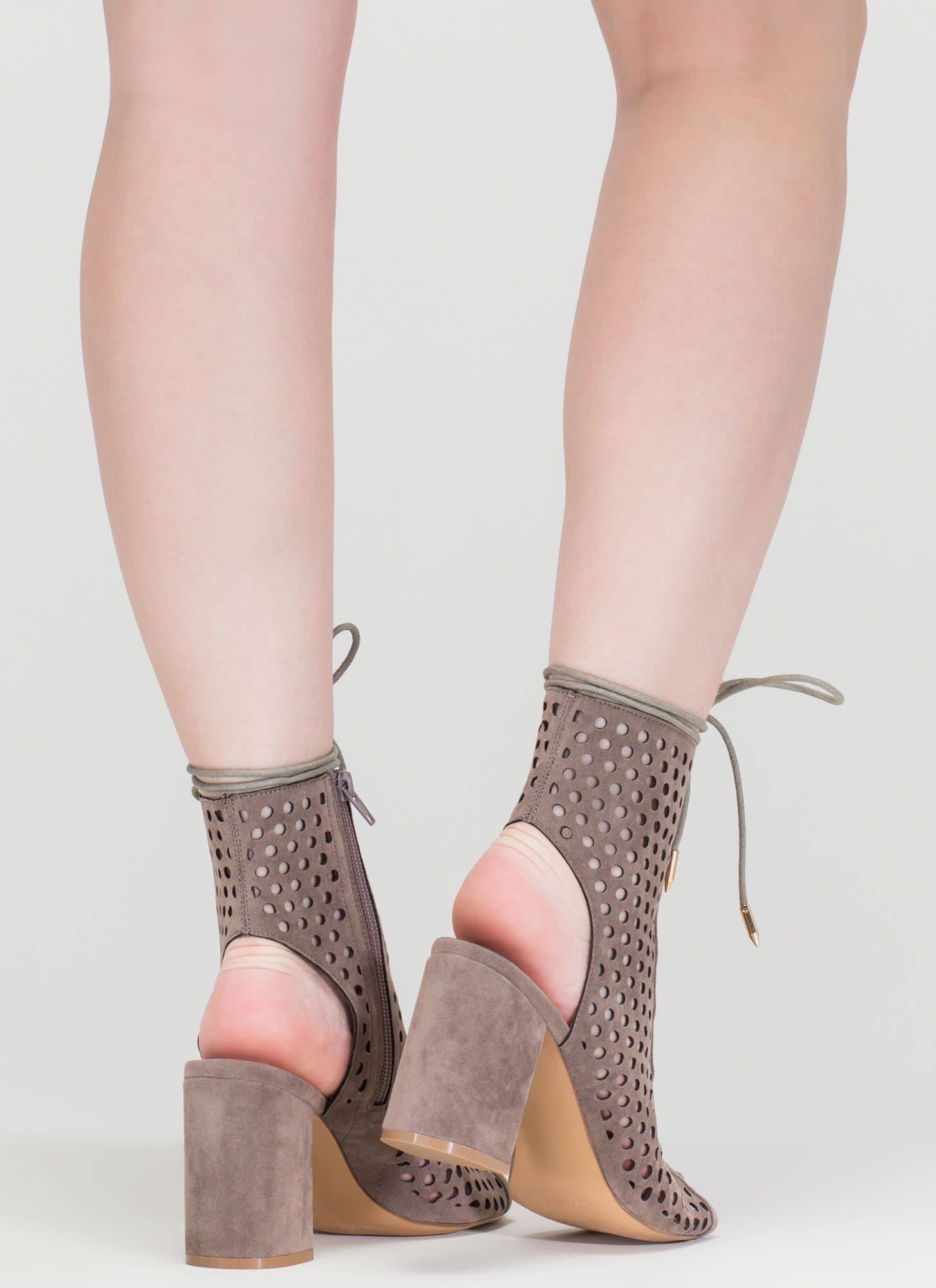 Holey One Perforated Faux Suede Booties GREY