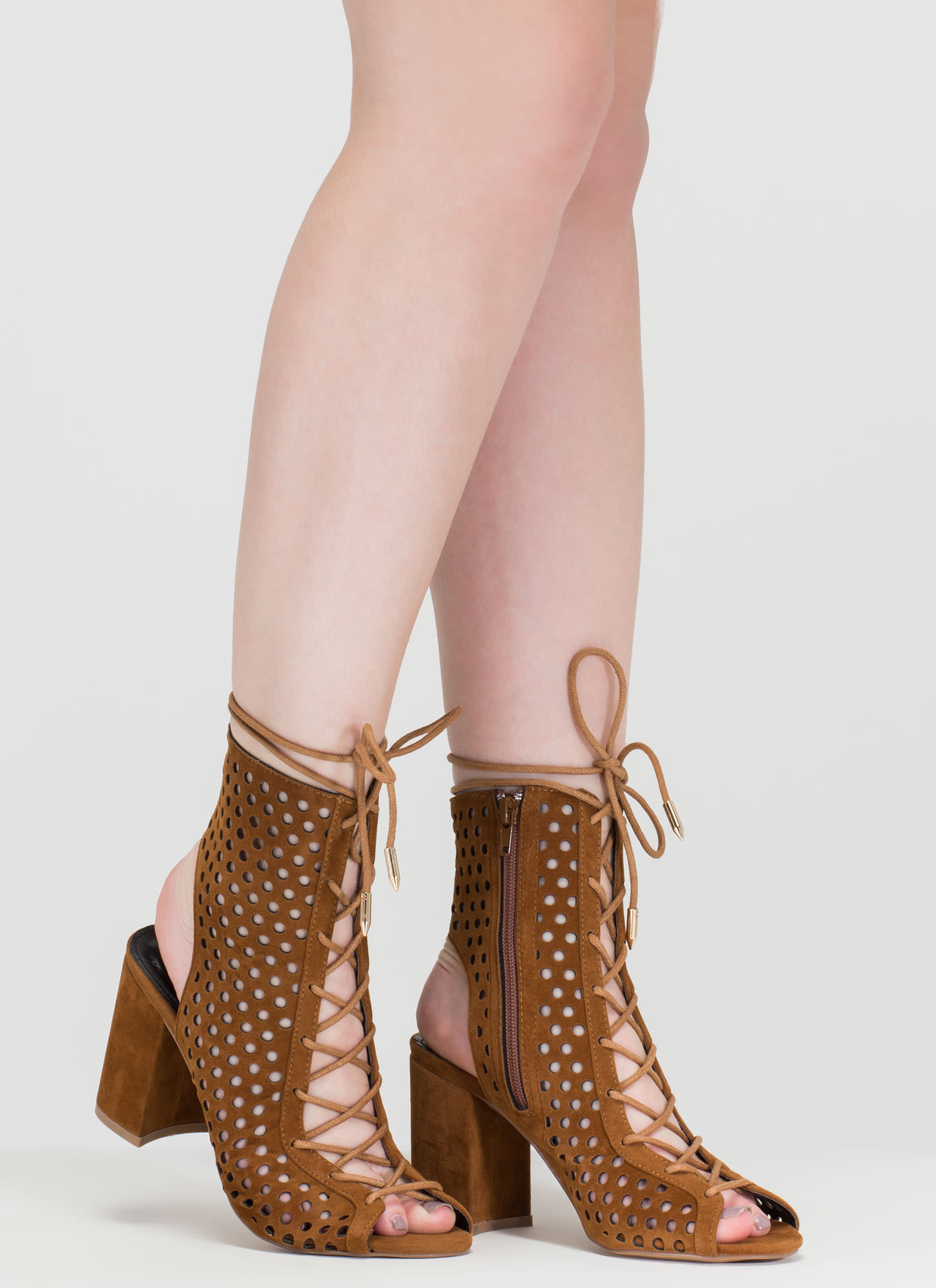 Holey One Perforated Faux Suede Booties MOCHA