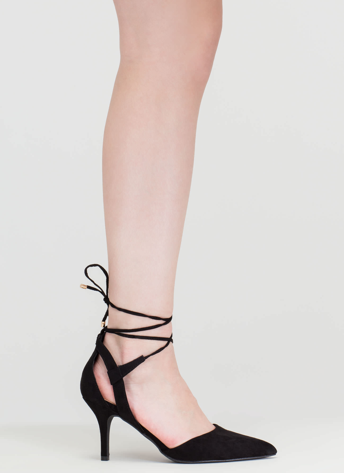 Point Total Cut-Out Lace-Up Heels BLACK