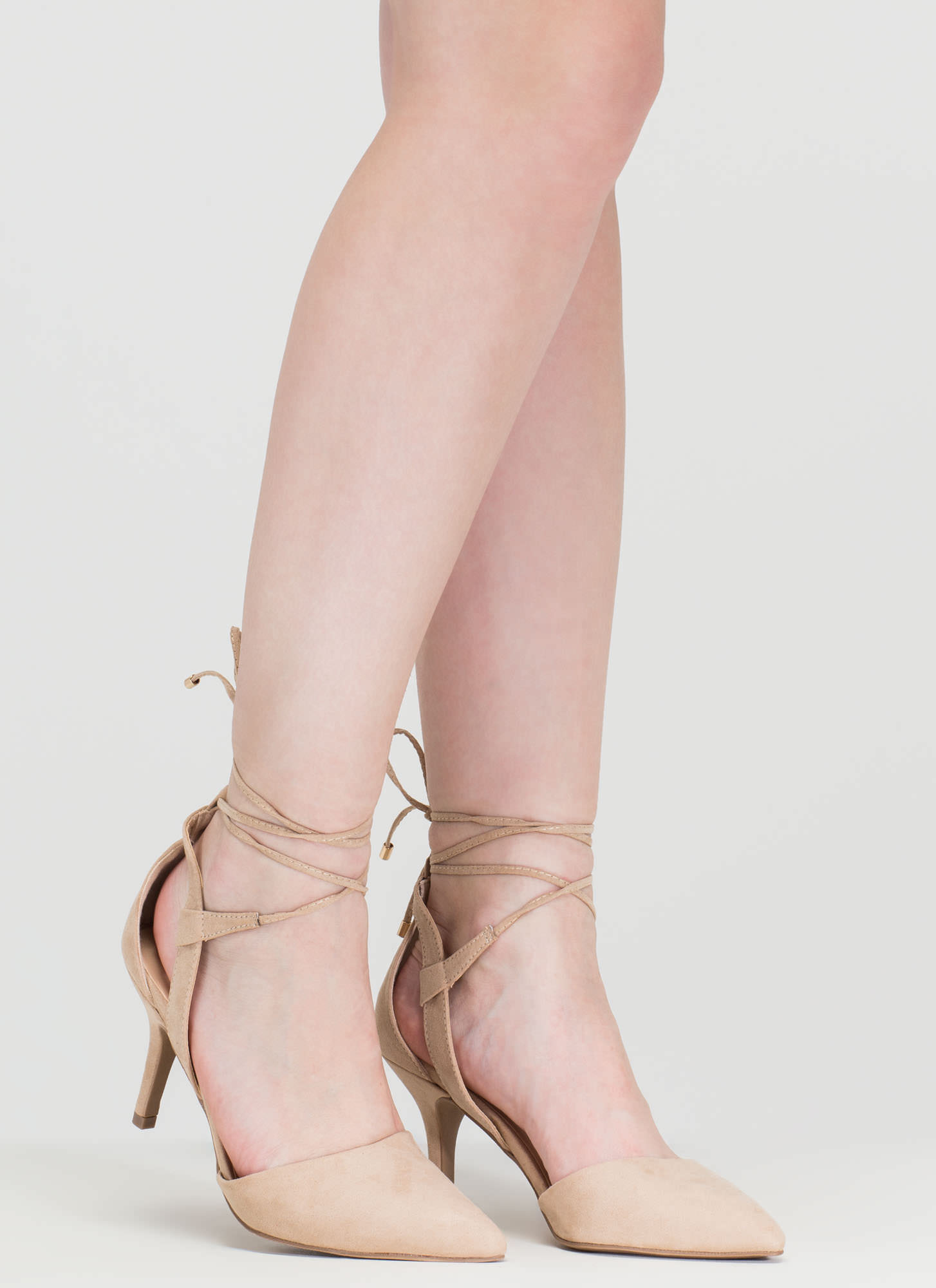 Point Total Cut-Out Lace-Up Heels NATURAL