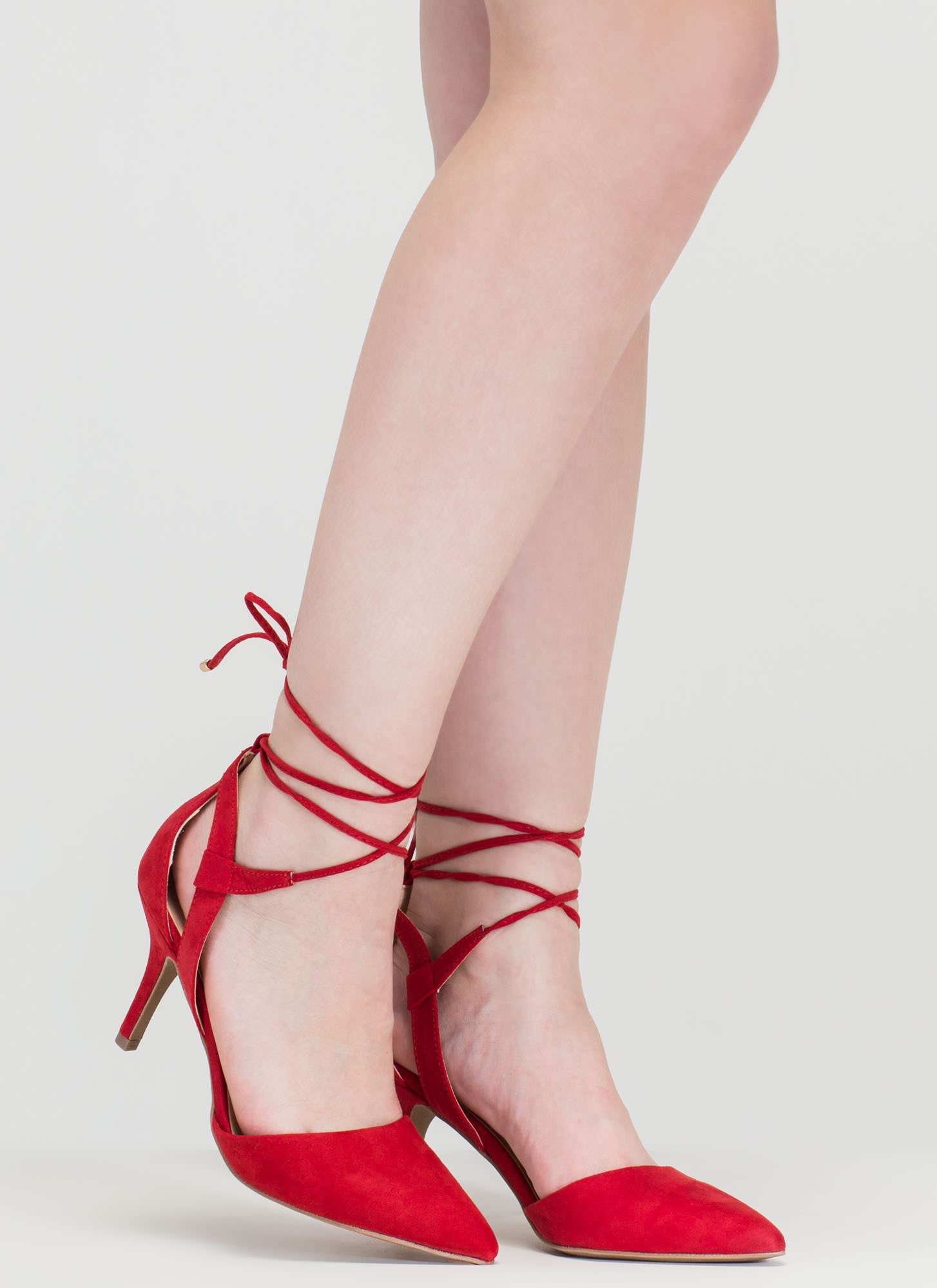 Point Total Cut-Out Lace-Up Heels RED