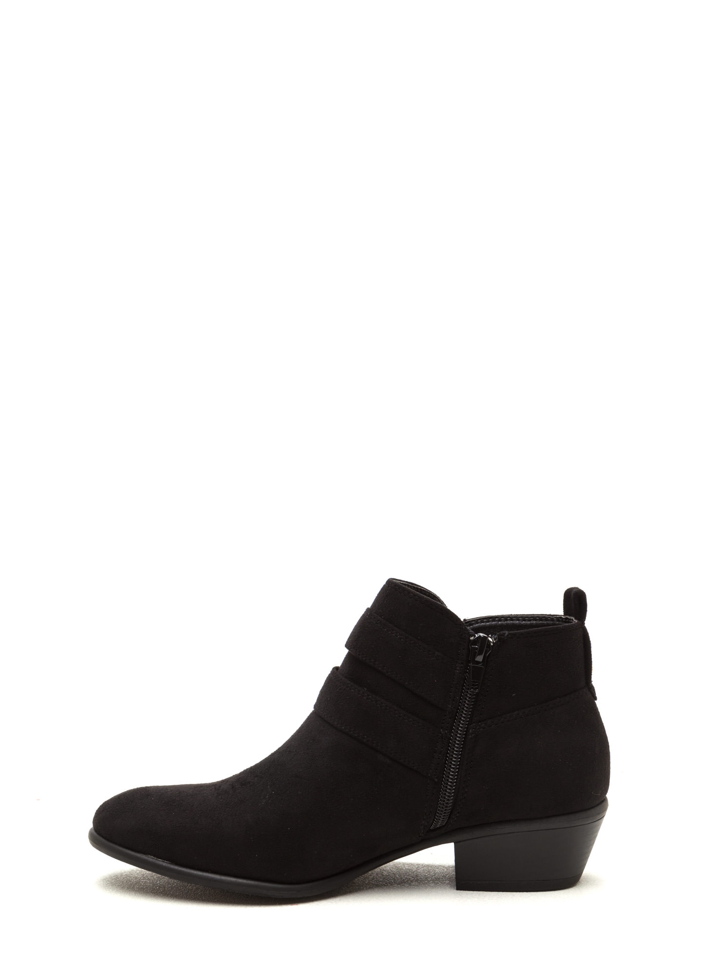 Doubled Over Faux Suede Booties BLACK