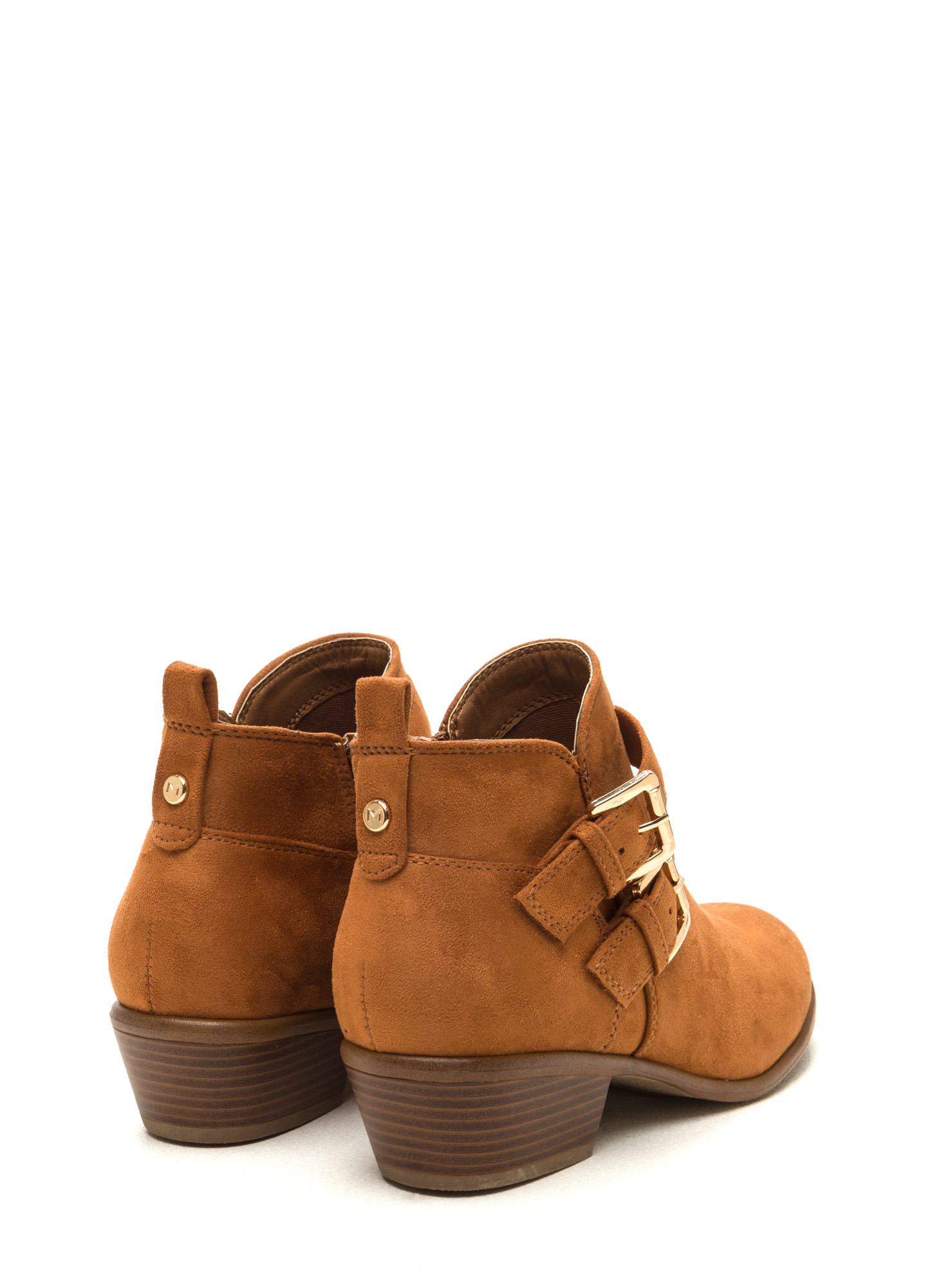 Doubled Over Faux Suede Booties WHISKY