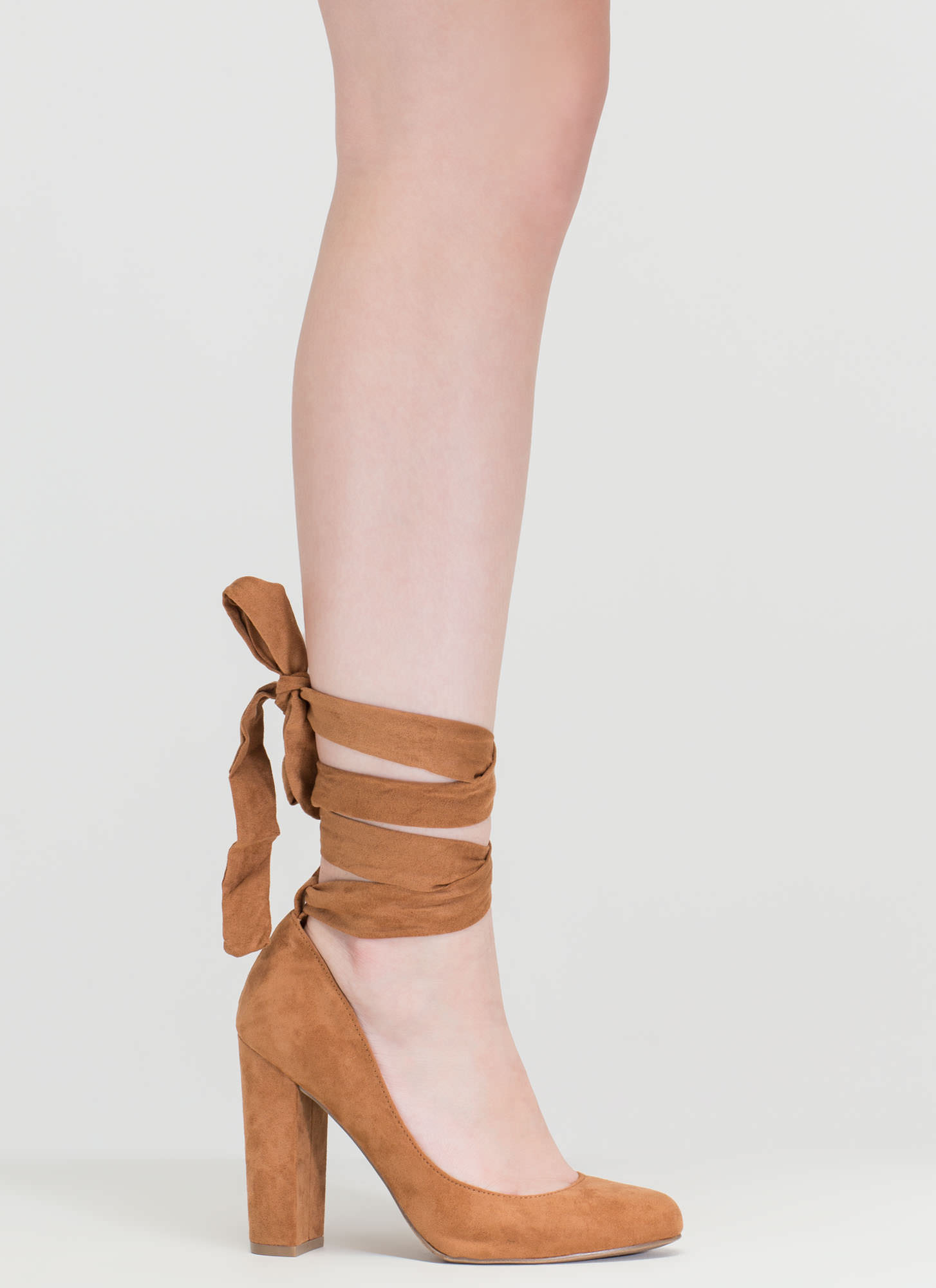 Tie Me Over Chunky Faux Suede Pumps CHESTNUT