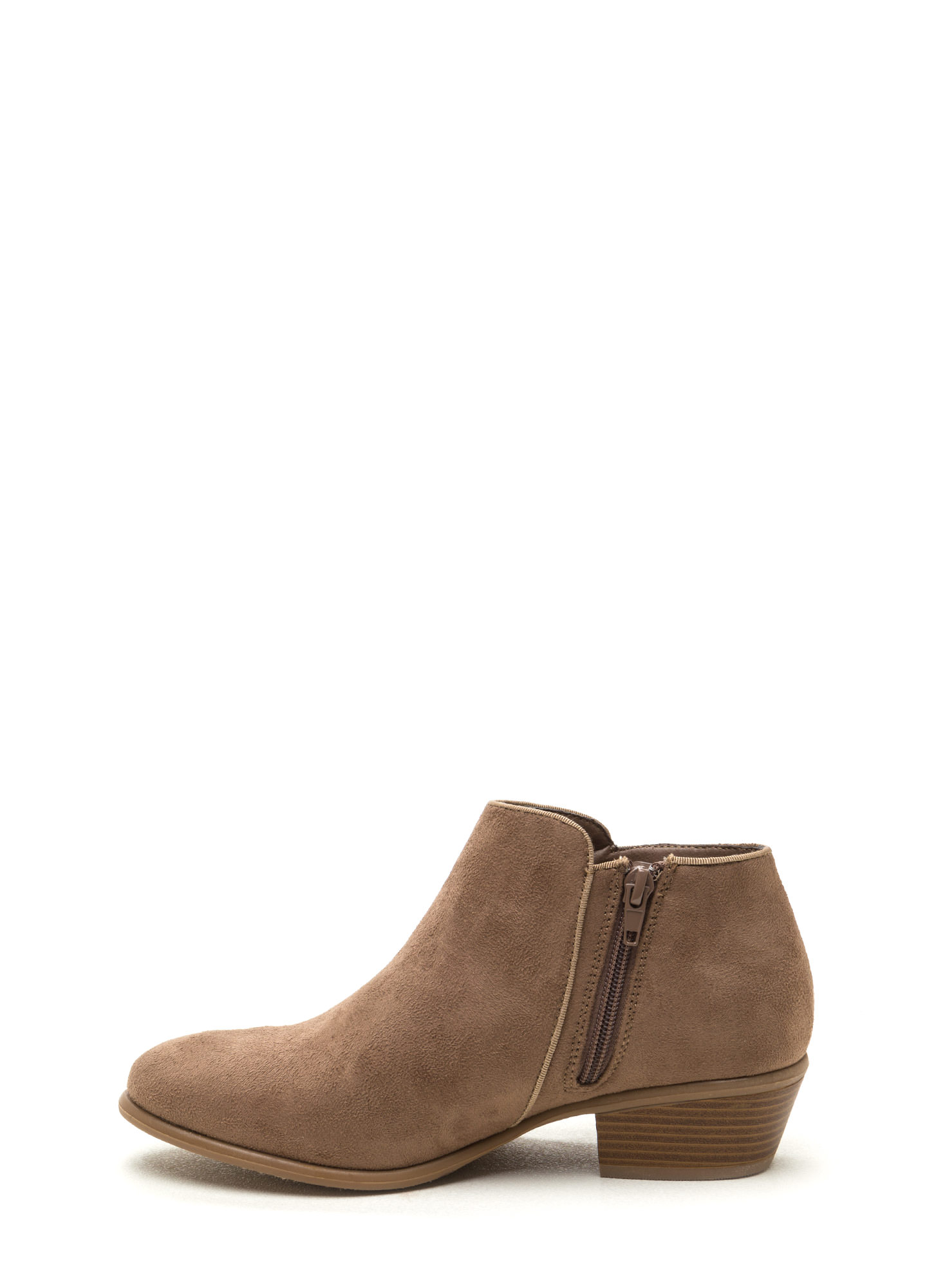 Fringe Fandom Faux Suede Booties TAUPE