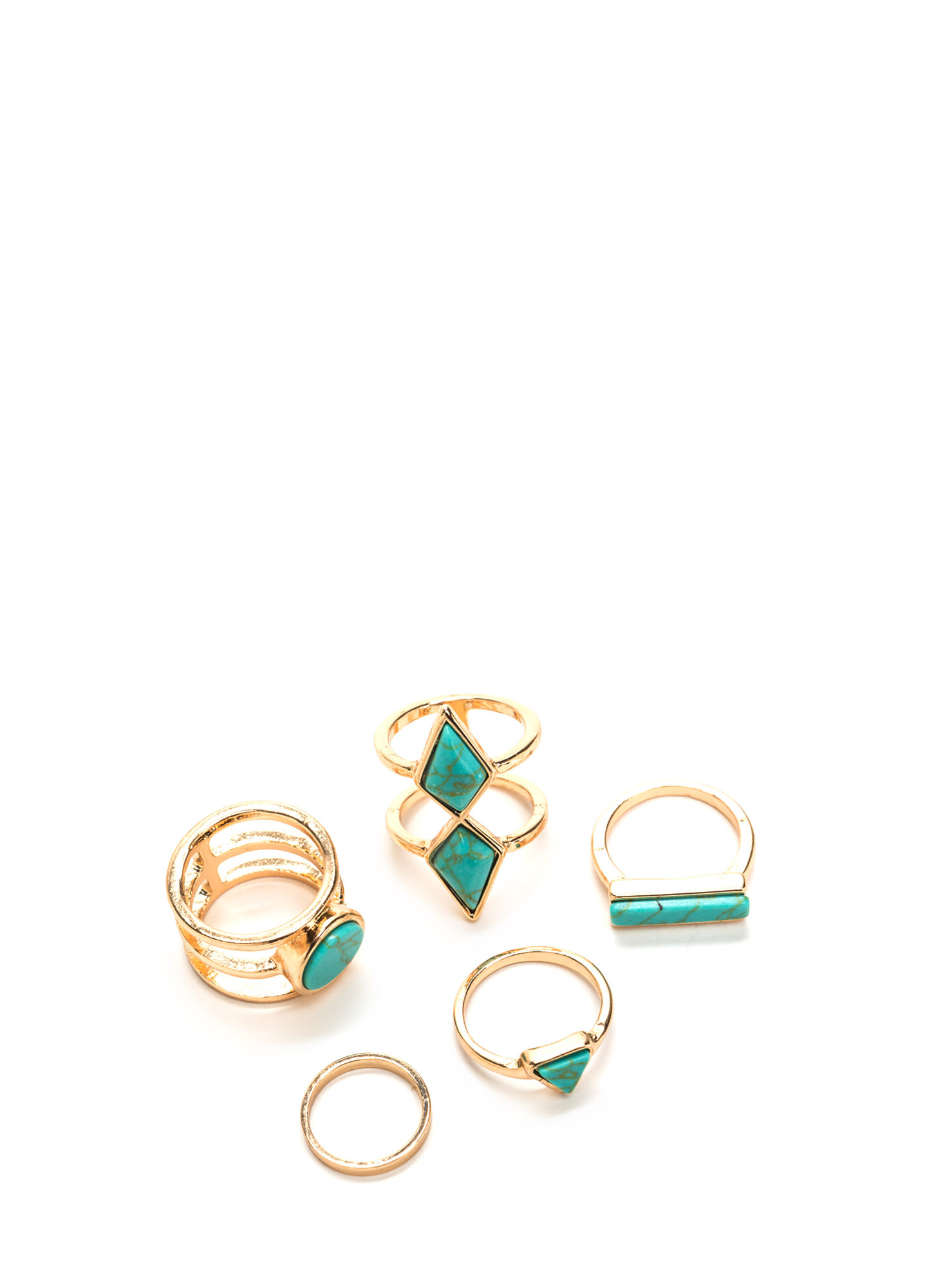 Rock Collection Metallic Ring Set TURQGOLD