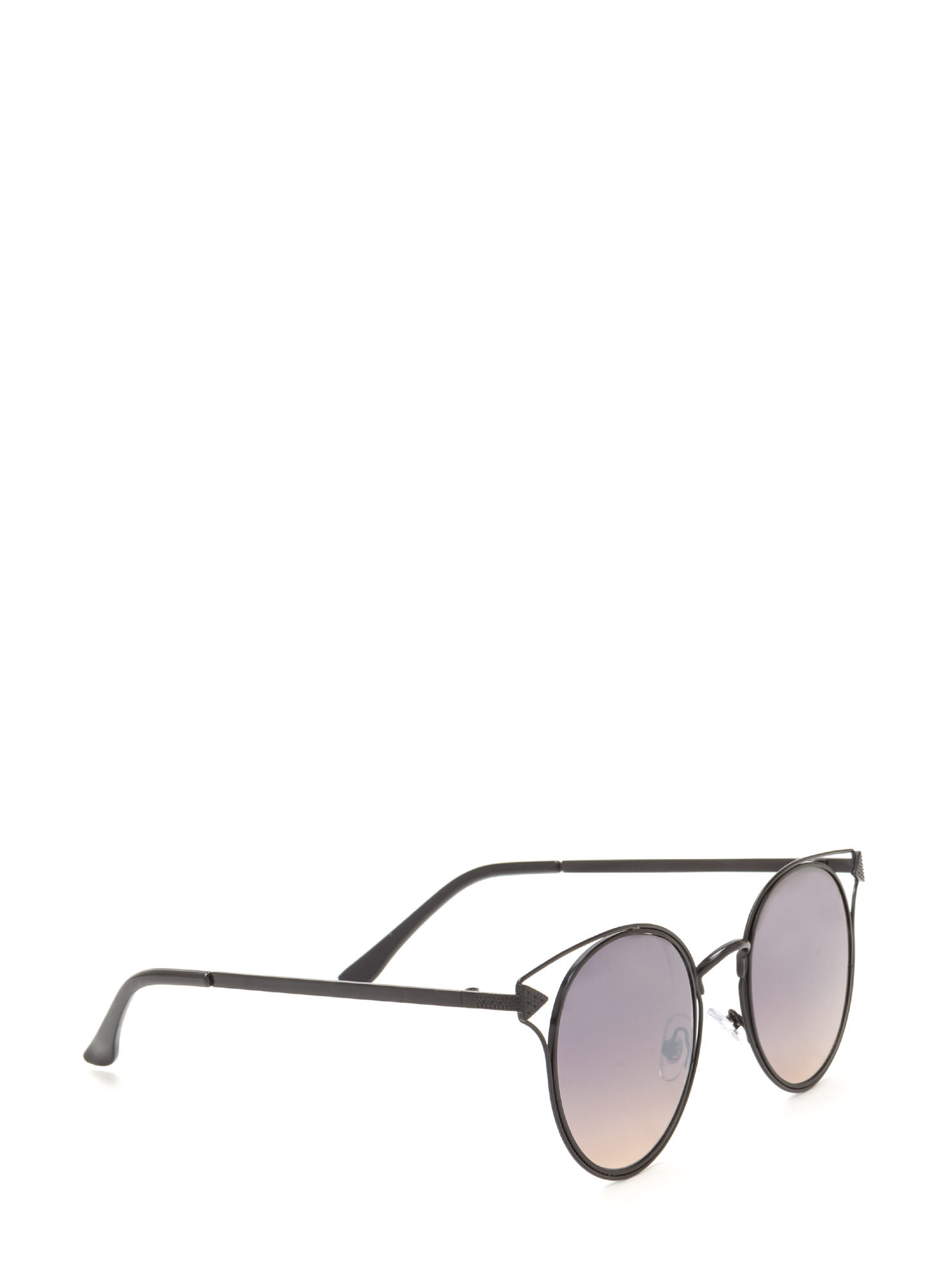 Point It Out Flat Round Sunglasses BLACK