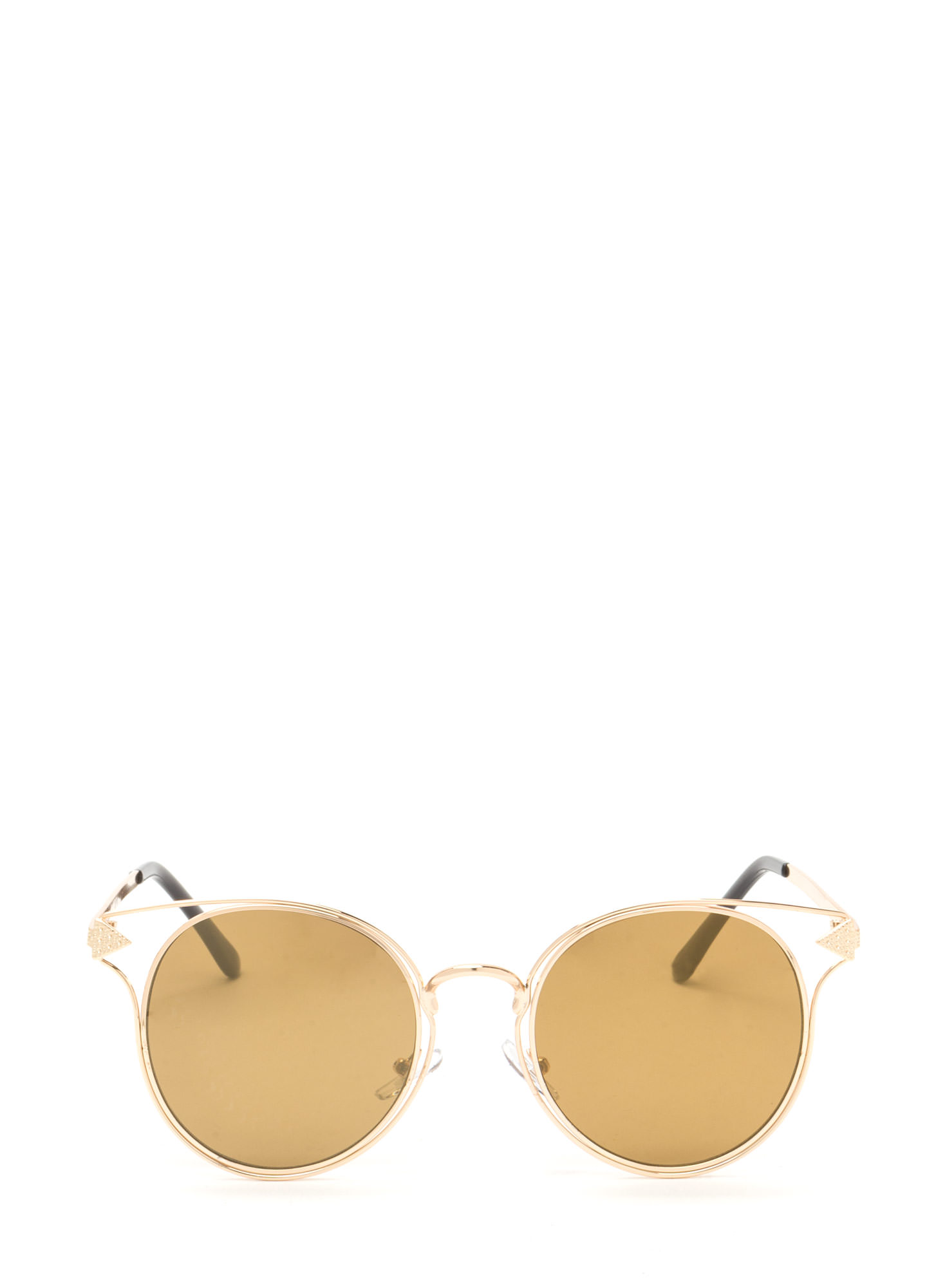 Point It Out Flat Round Sunglasses GOLD