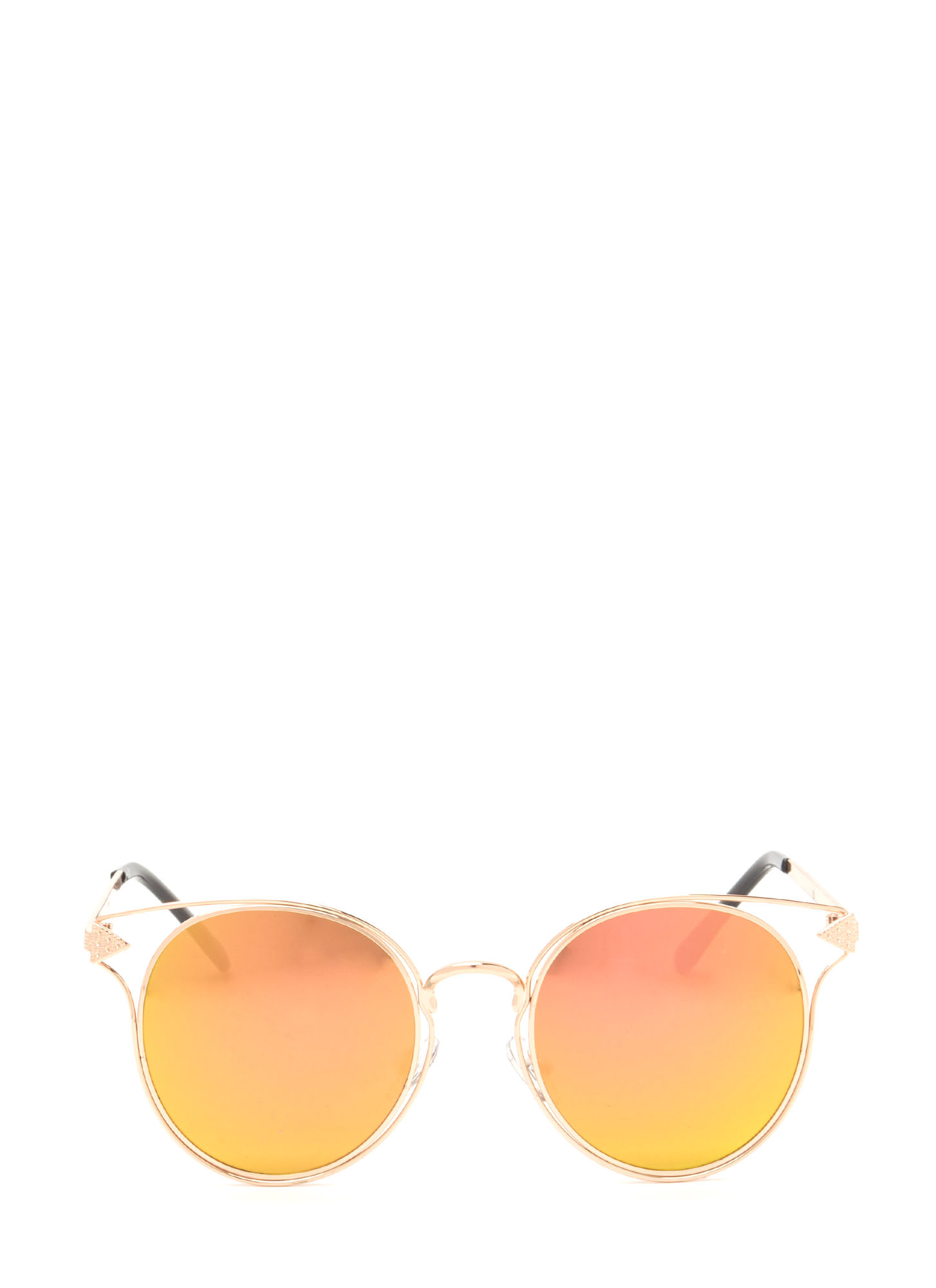 Point It Out Flat Round Sunglasses ROSEGOLD