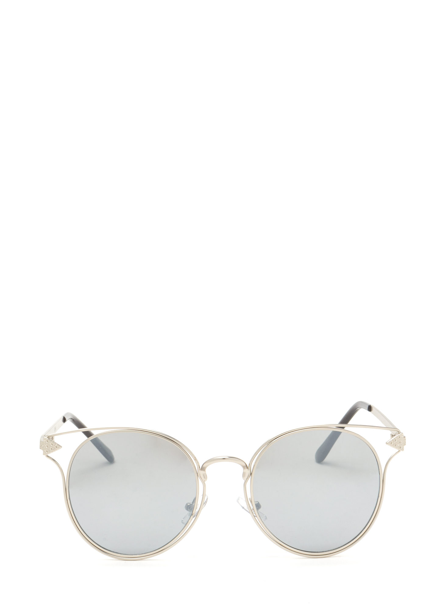 Point It Out Flat Round Sunglasses SILVER