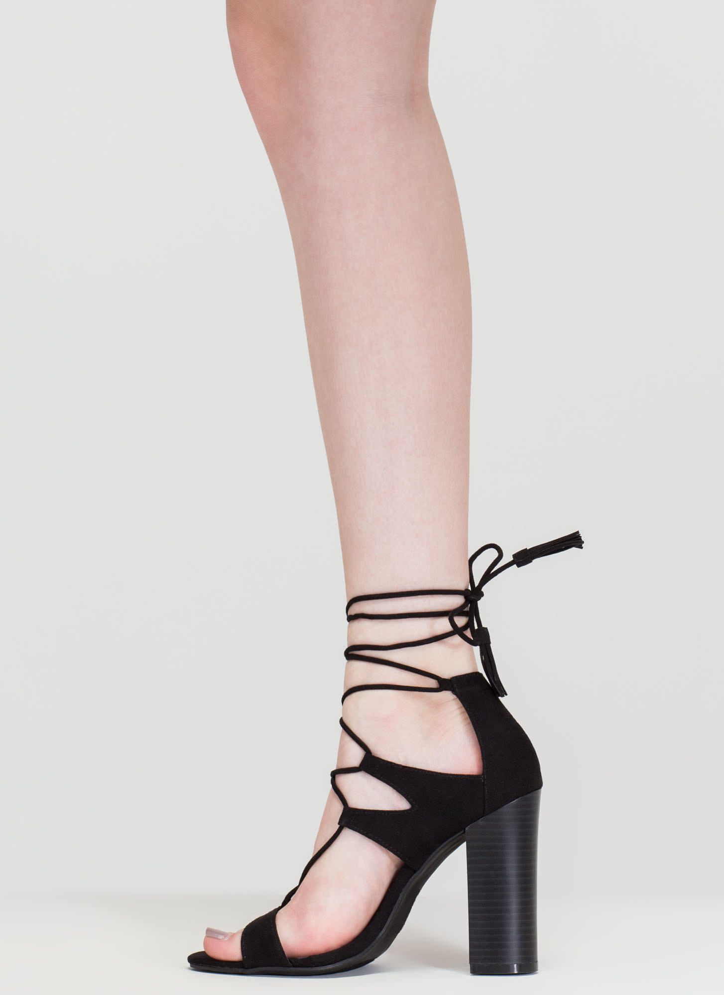 Strappy Starlet Chunky Lace-Up Heels BLACK