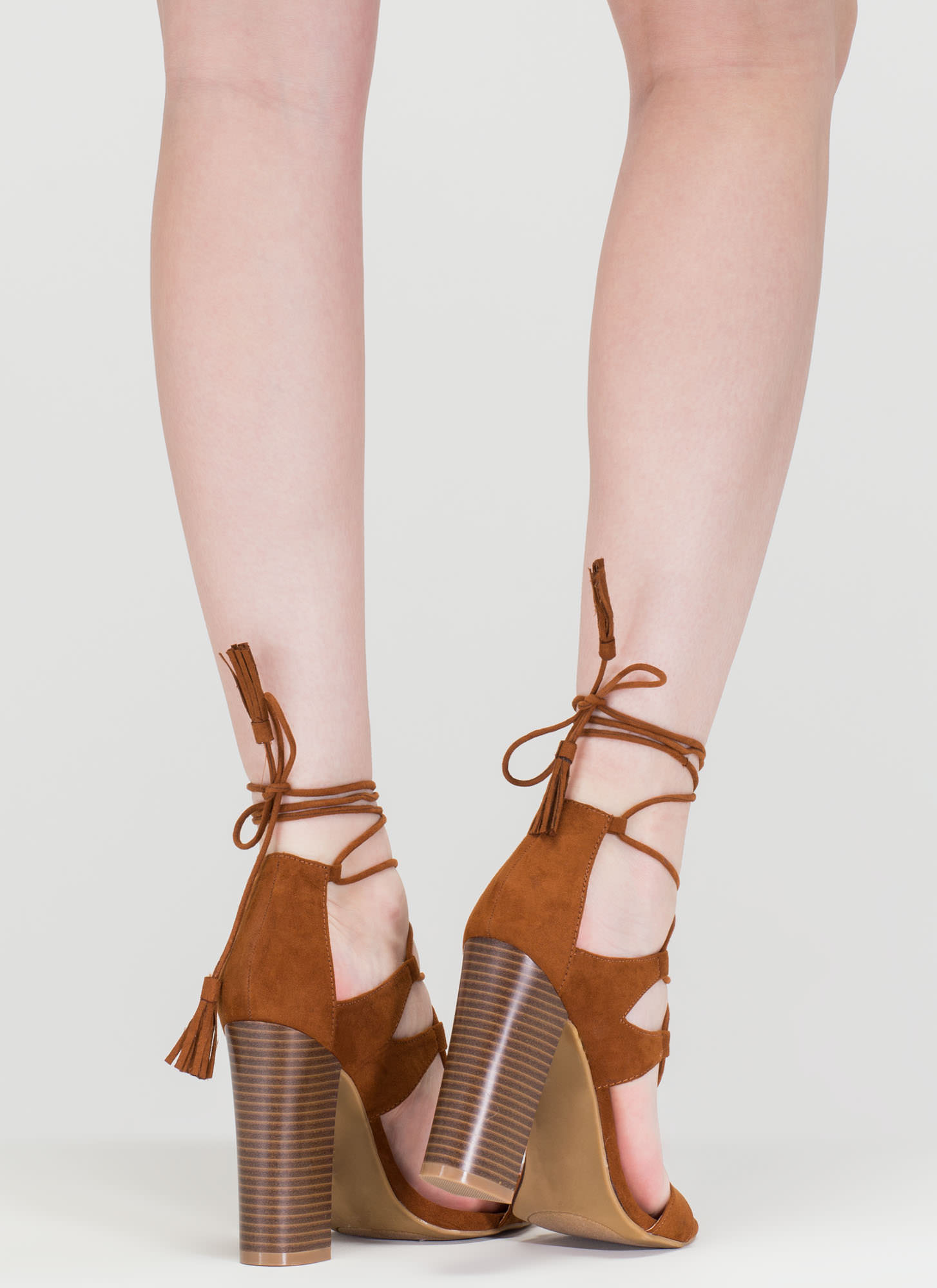Strappy Starlet Chunky Lace-Up Heels CHESTNUT