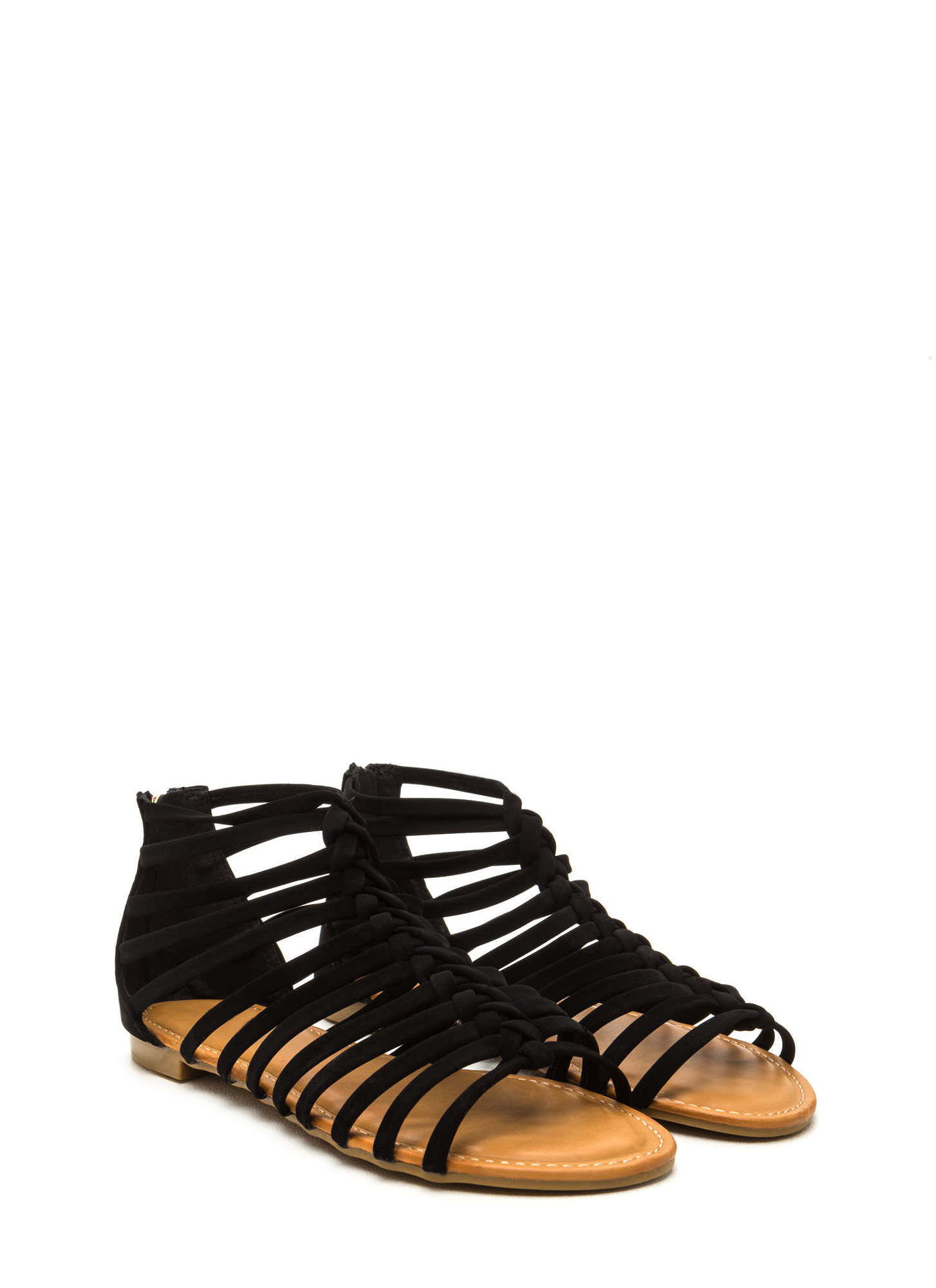 Keep In Line Caged Faux Nubuck Sandals BLACK