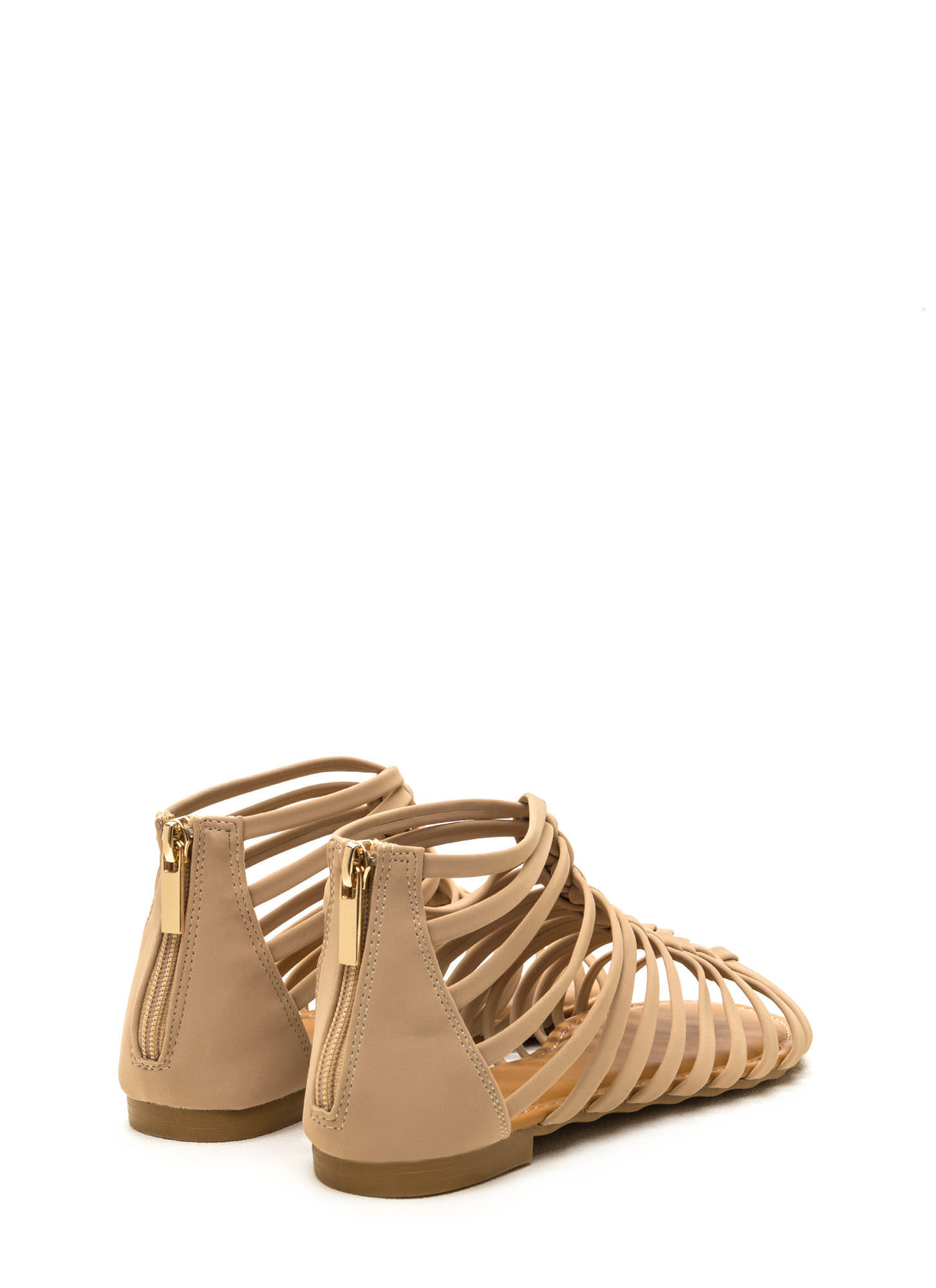 Keep In Line Caged Faux Nubuck Sandals NUDE