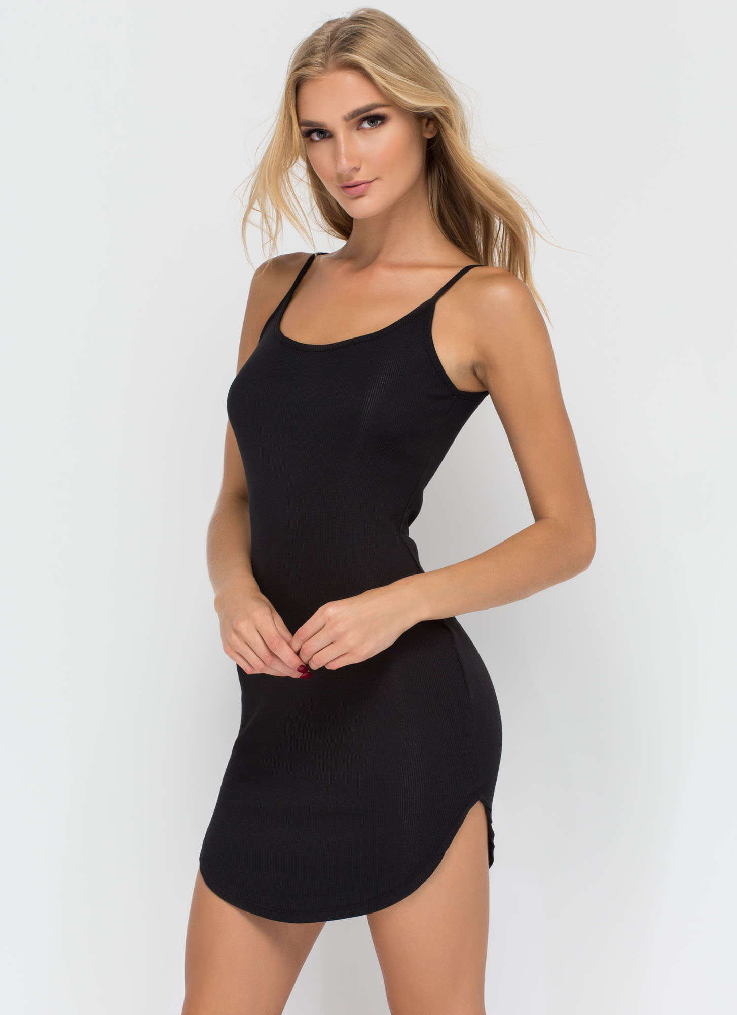 Rounding It Out Ribbed Minidress BLACK