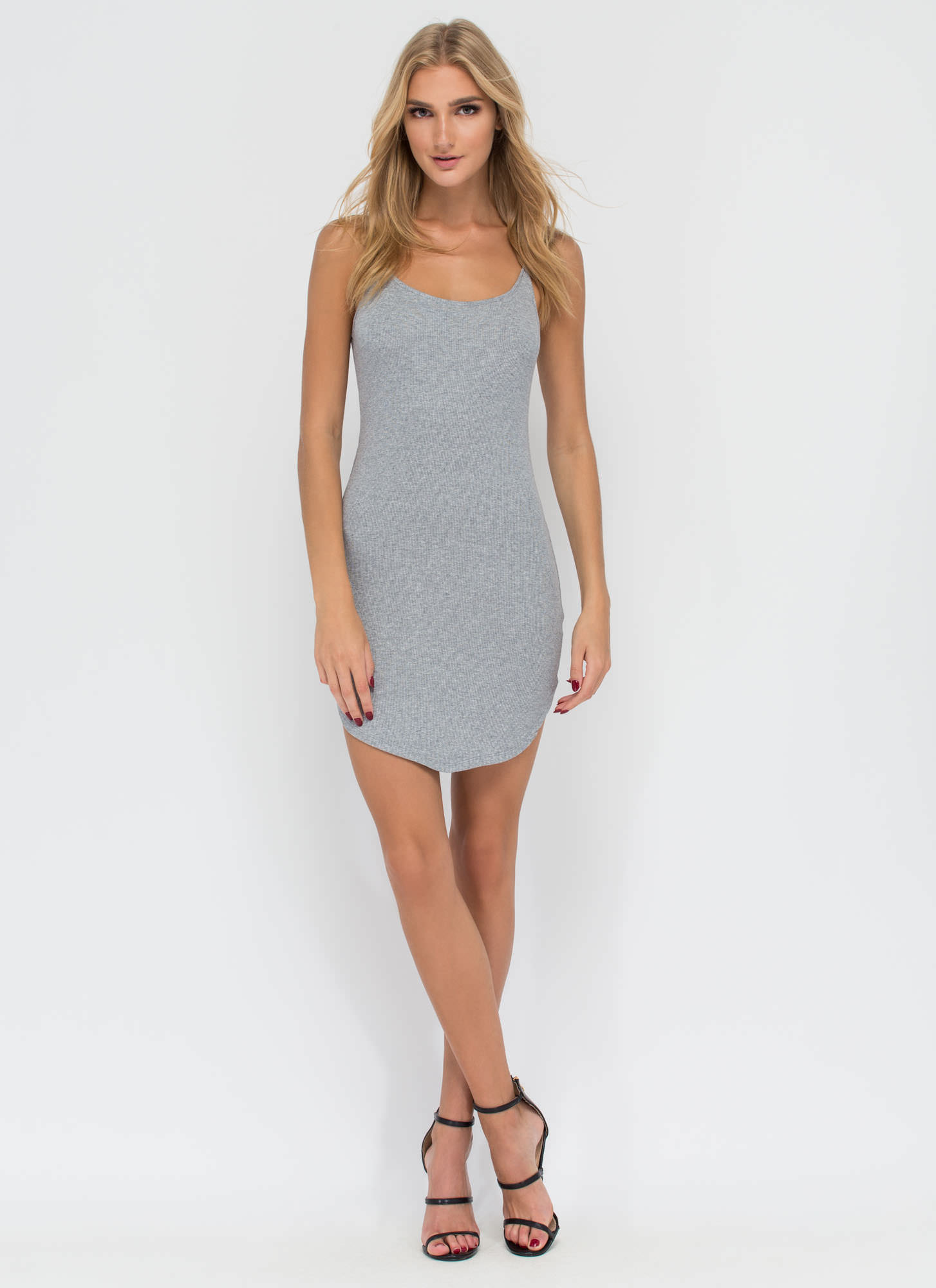 Rounding It Out Ribbed Minidress HGREY