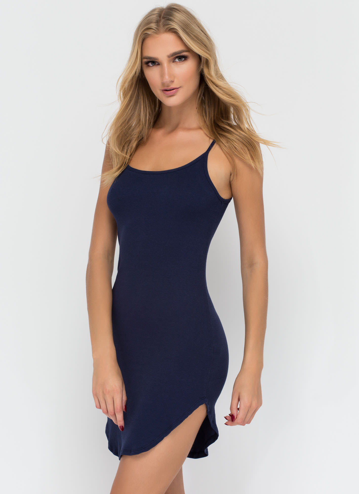 Rounding It Out Ribbed Minidress NAVY