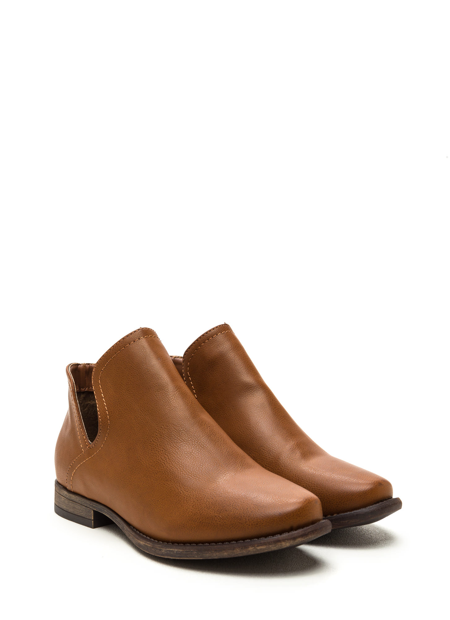 The Down Low Faux Leather Booties CHESTNUT