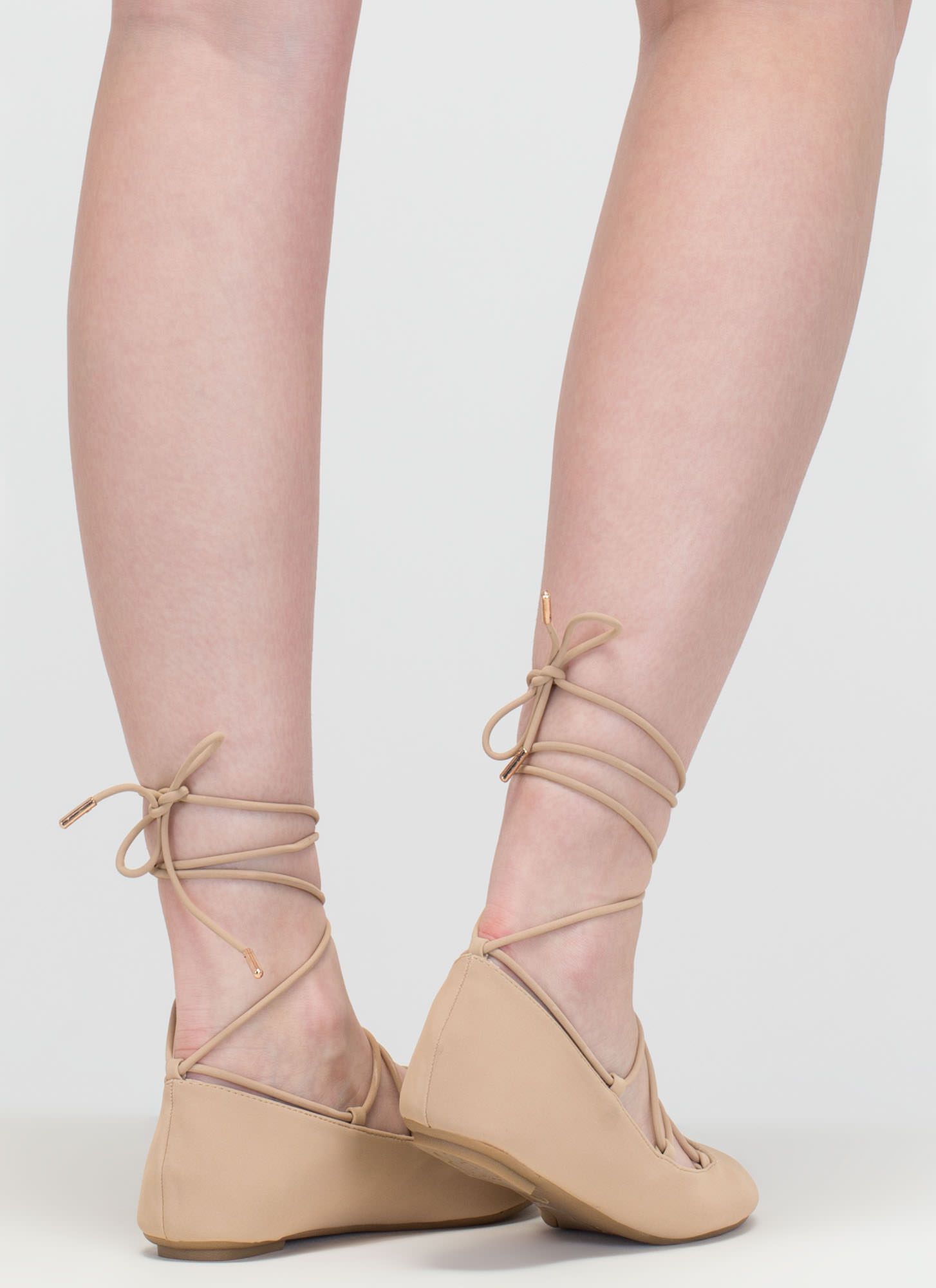 Barre Beauty Lace-Up Ballet Flats NUDE