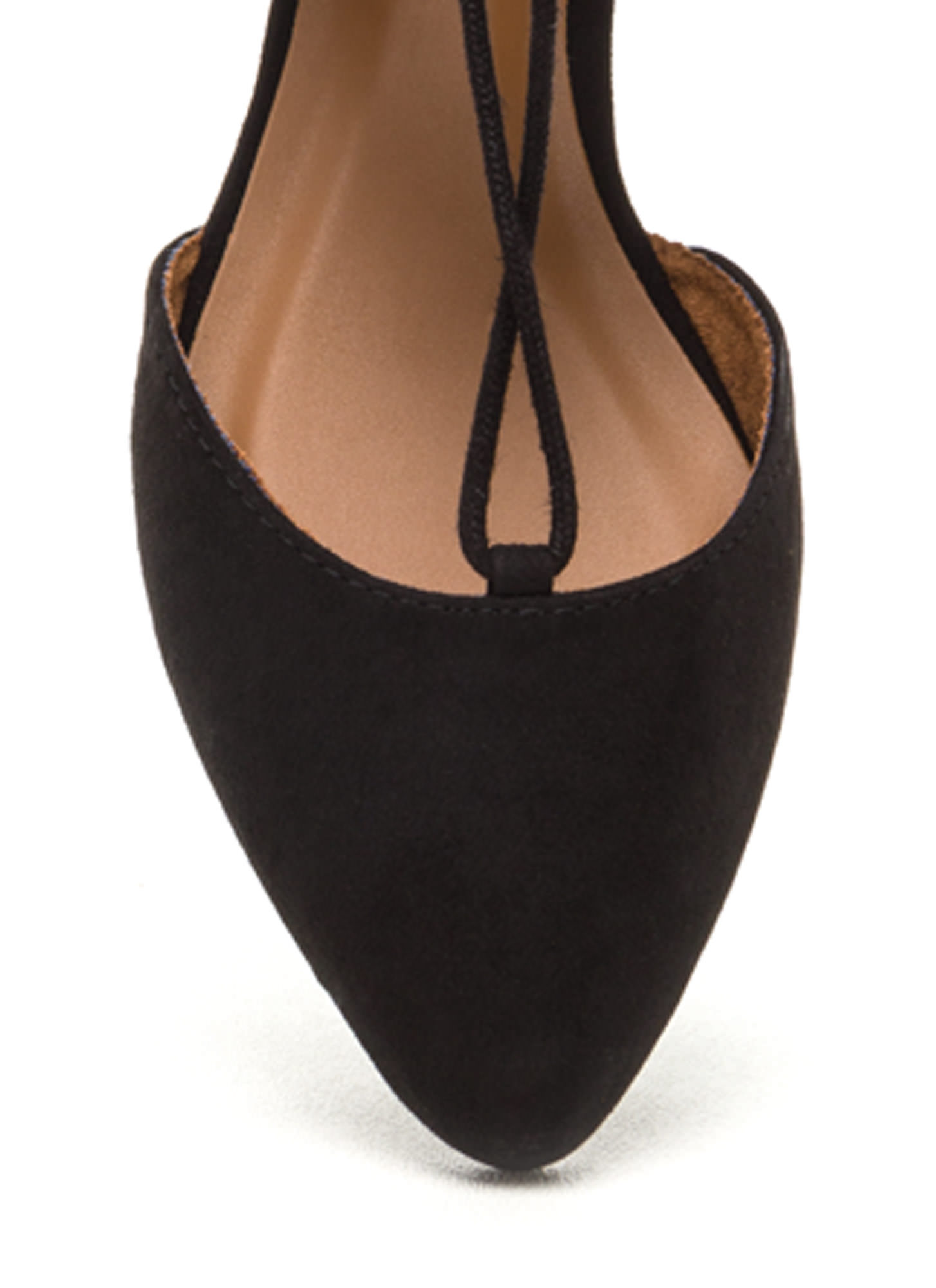 Laced-Up Lover Faux Suede Flats BLACK