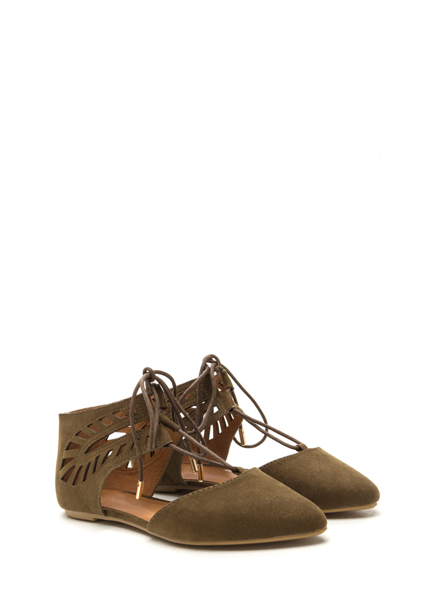 Laced-Up Lover Faux Suede Flats OLIVE