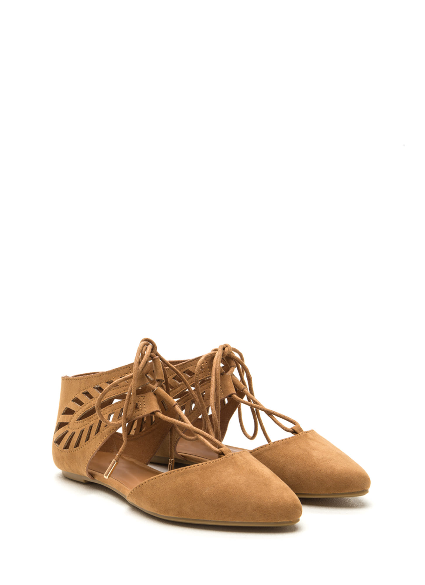 Laced-Up Lover Faux Suede Flats TAN