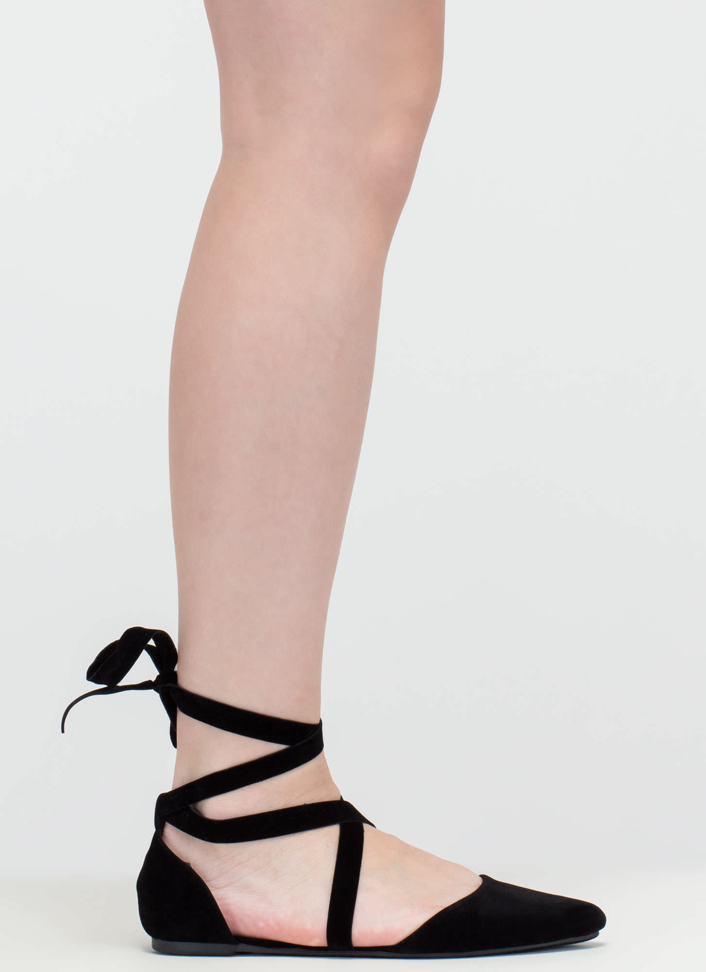 Heartbeat Sound Pointy Lace-Up Flats BLACK